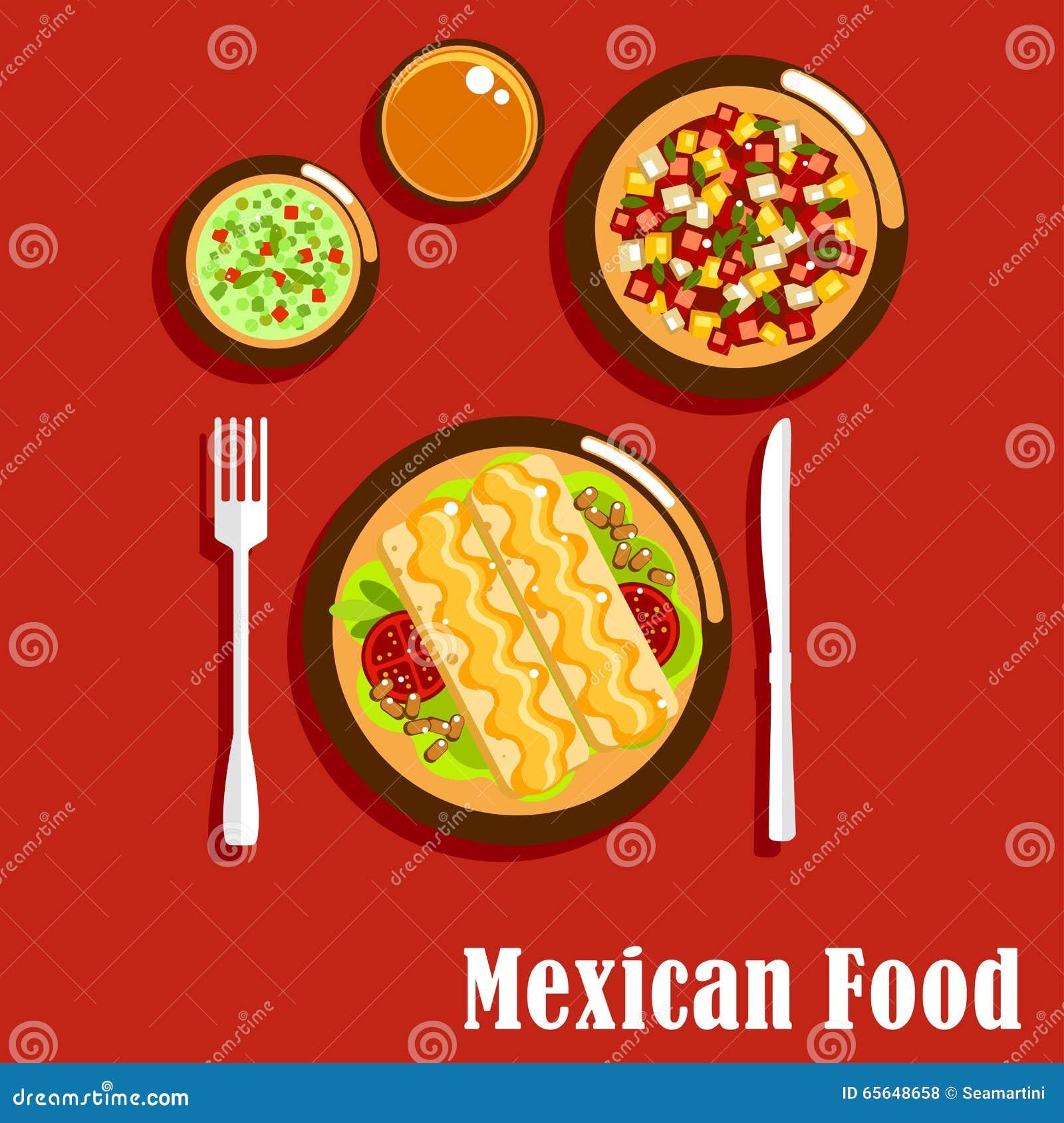 cuisine mexicaine avec des enchiladas et des sauces illustration
