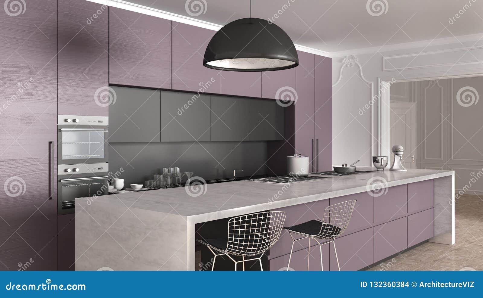 Cuisine Moderne Couleur Violet cuisine minimale moderne en bois de violette foncée avec l
