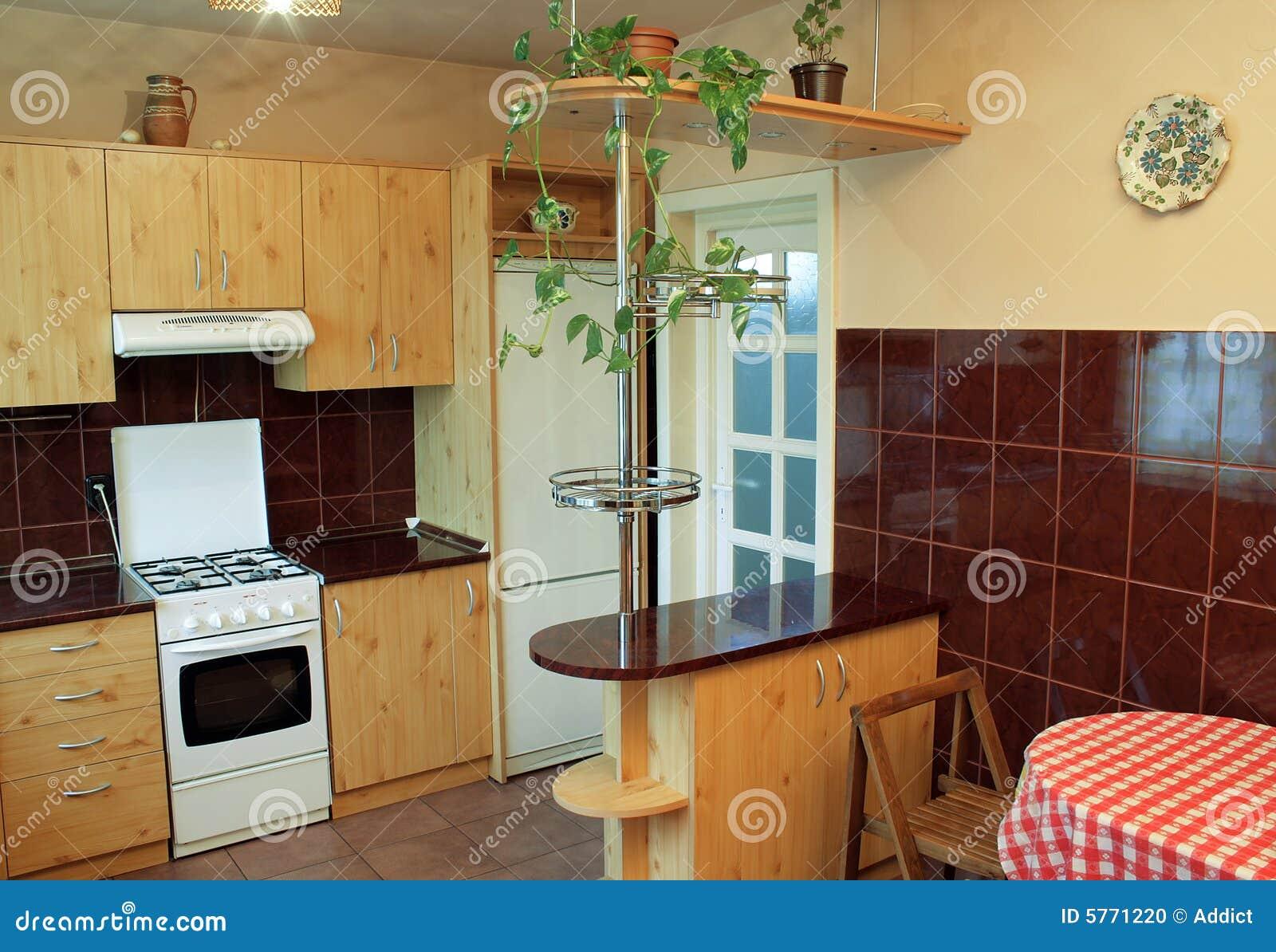 Cuisine moderne avec les meubles en bois photo stock for Cuisine meuble en bois