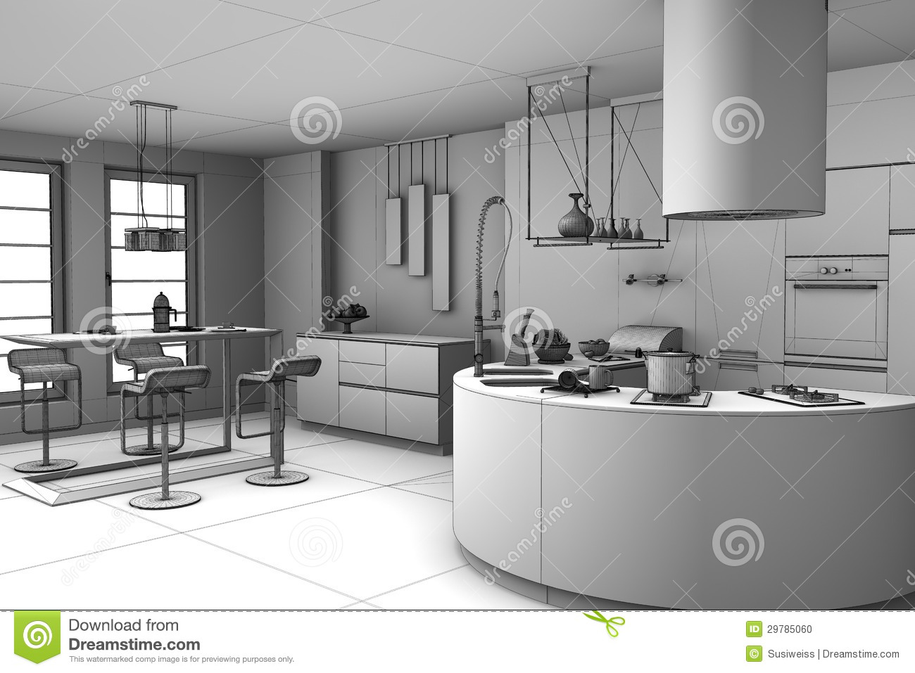 3d rendant la cuisine moderne illustration stock illustration du trame m re 29785060 for Ceramic cuisine moderne