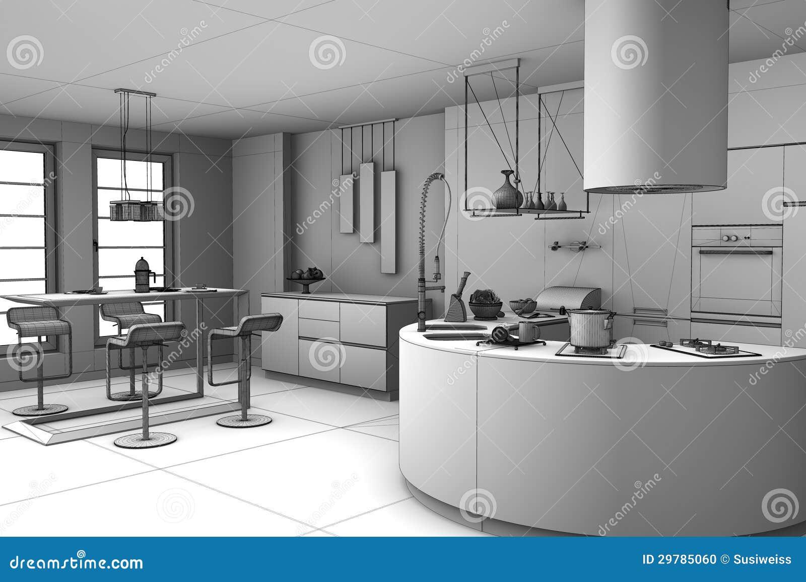 3d rendant la cuisine moderne photo stock image 29785060 for Cuisine 3d bessines