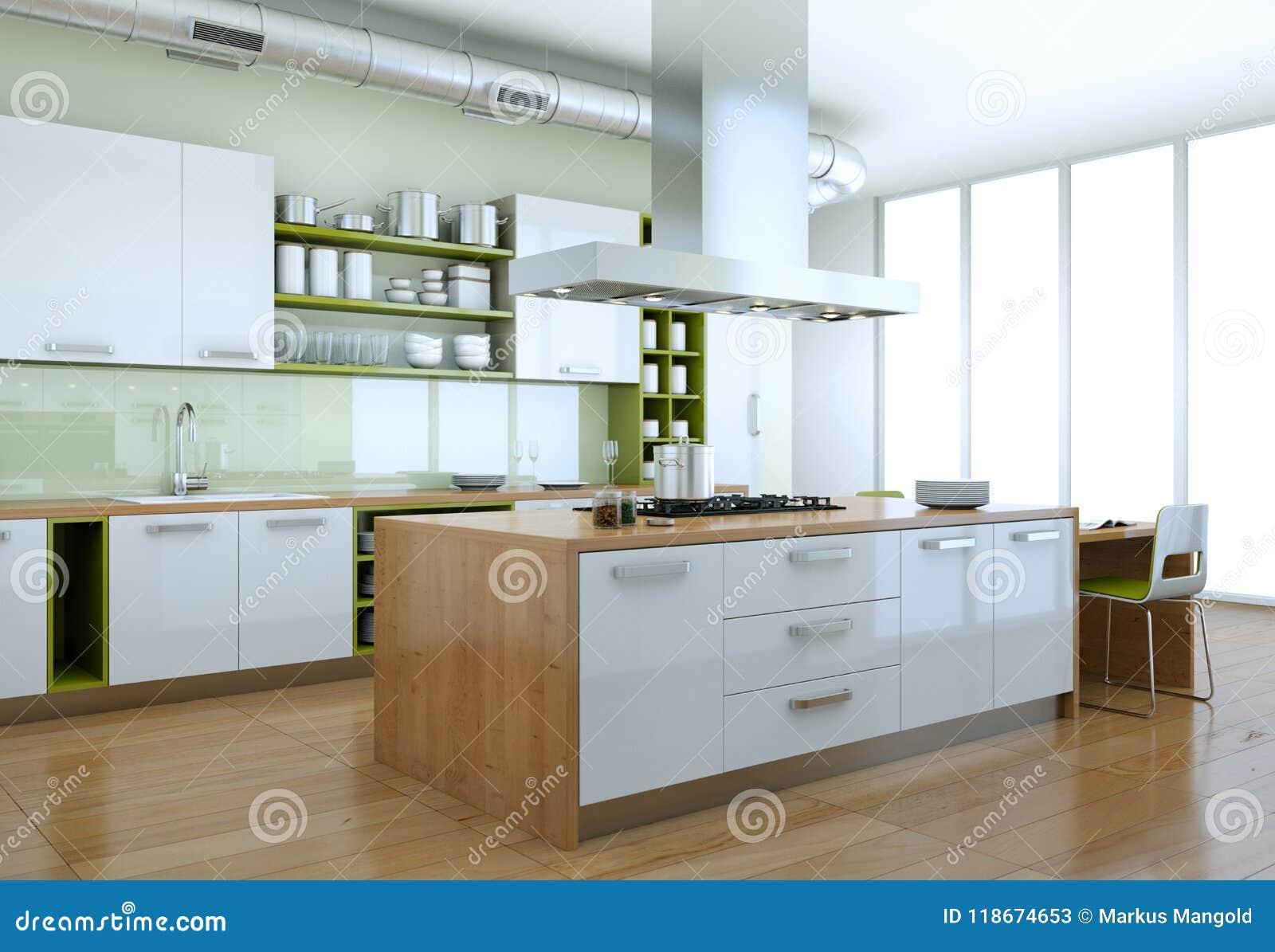 Cuisine Moderne Blanche Avec La Conception Interieure D Elements