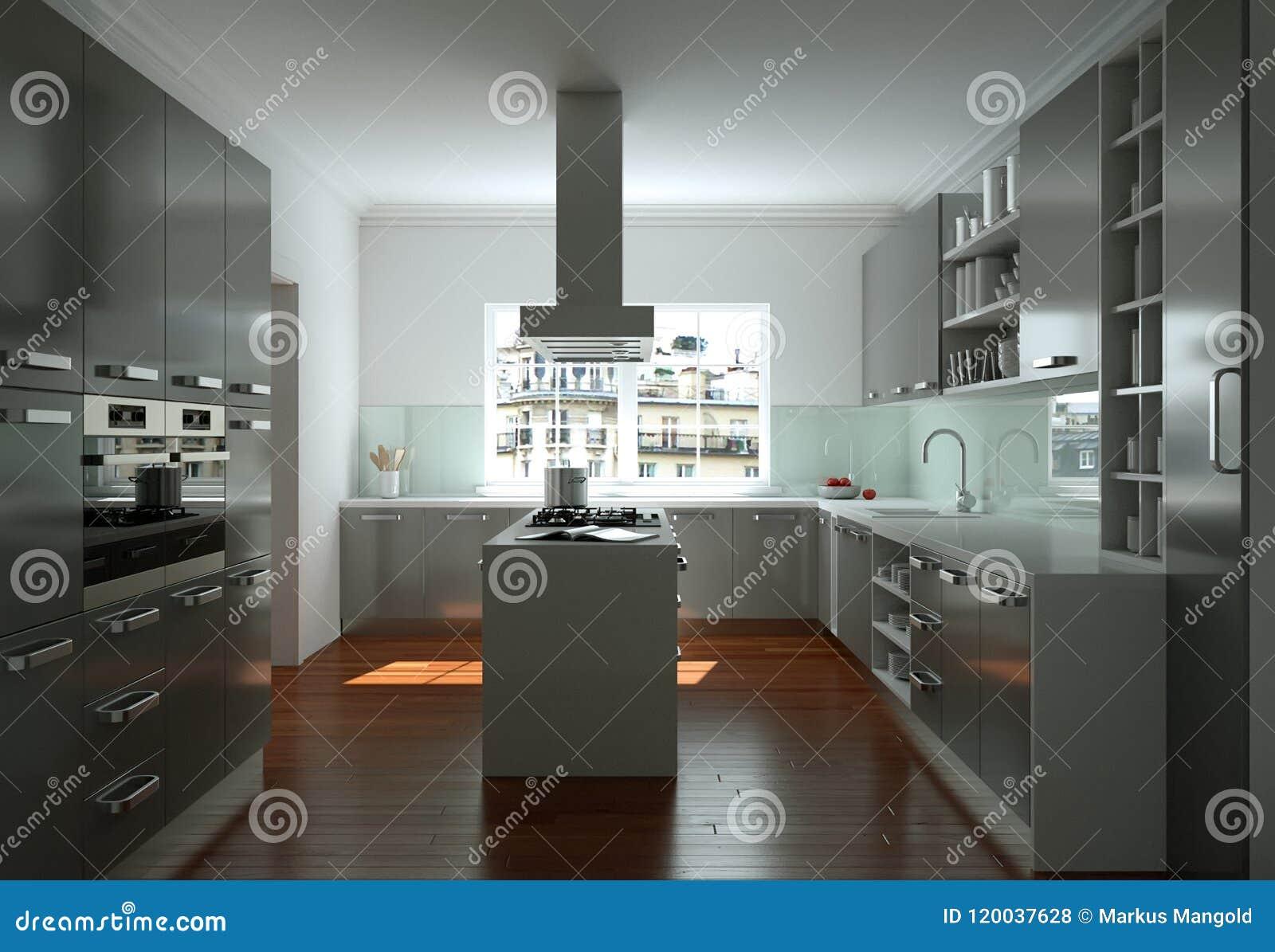 Cuisine Moderne Blanche Dans Une Maison Avec Une Belle Conception ...