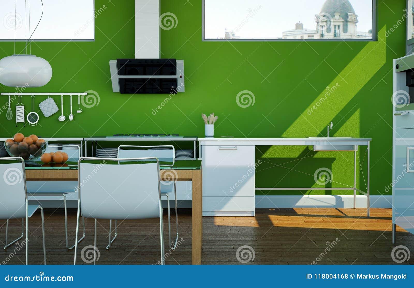 Cuisine Moderne Blanche Dans Une Maison Avec Les Murs Verts ...