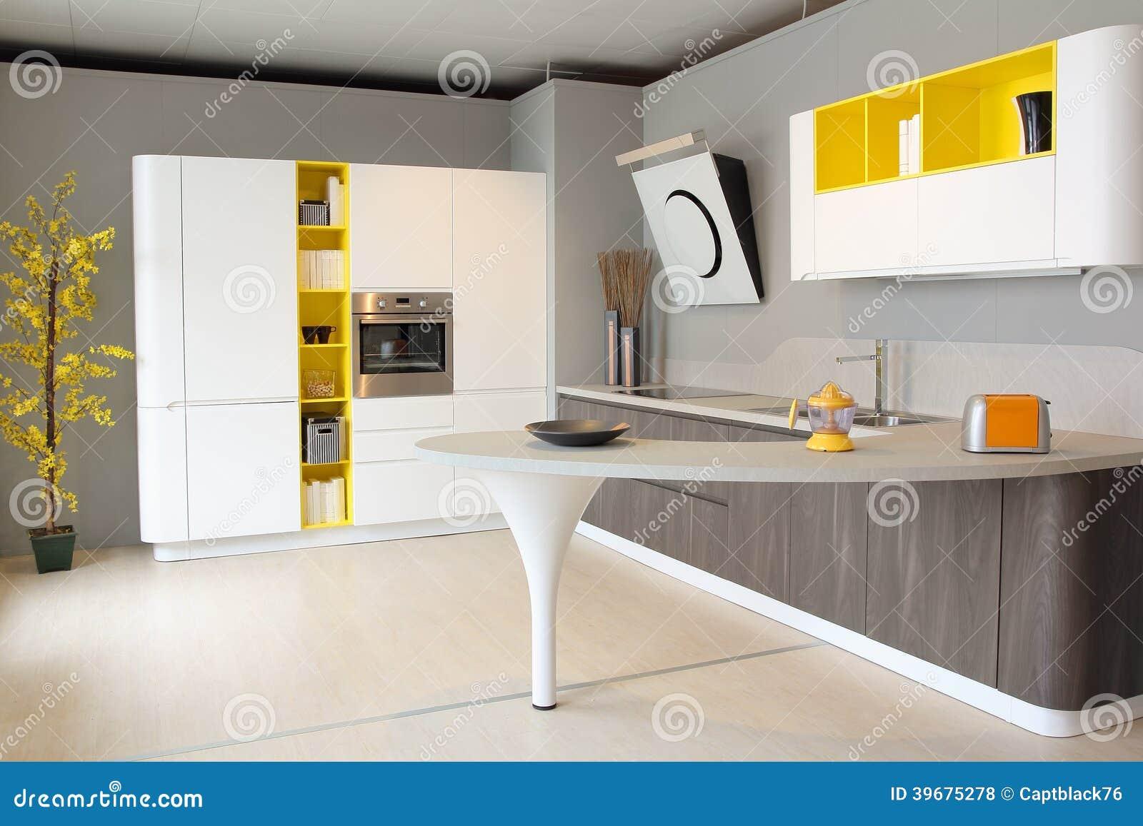 Cuisine moderne blanche et jaune color photo stock image 39675278 for Chambre jaune et blanche