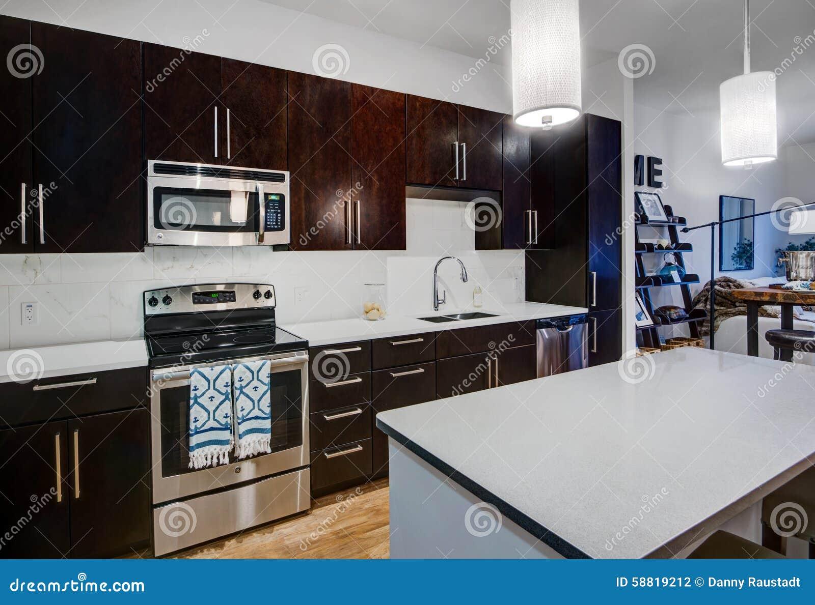 cuisine moderne d 39 appartement photo stock image du home coutume 58819212. Black Bedroom Furniture Sets. Home Design Ideas