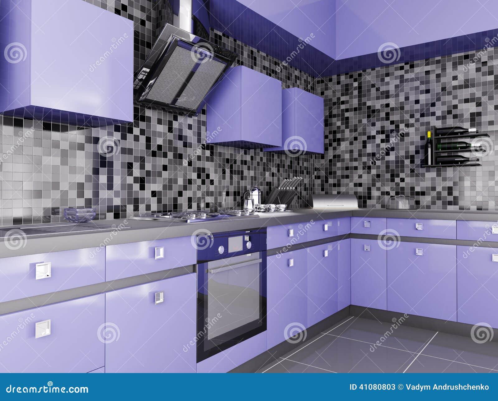 Cuisine Moderne Couleur Violet cuisine moderne 3d intérieur illustration stock