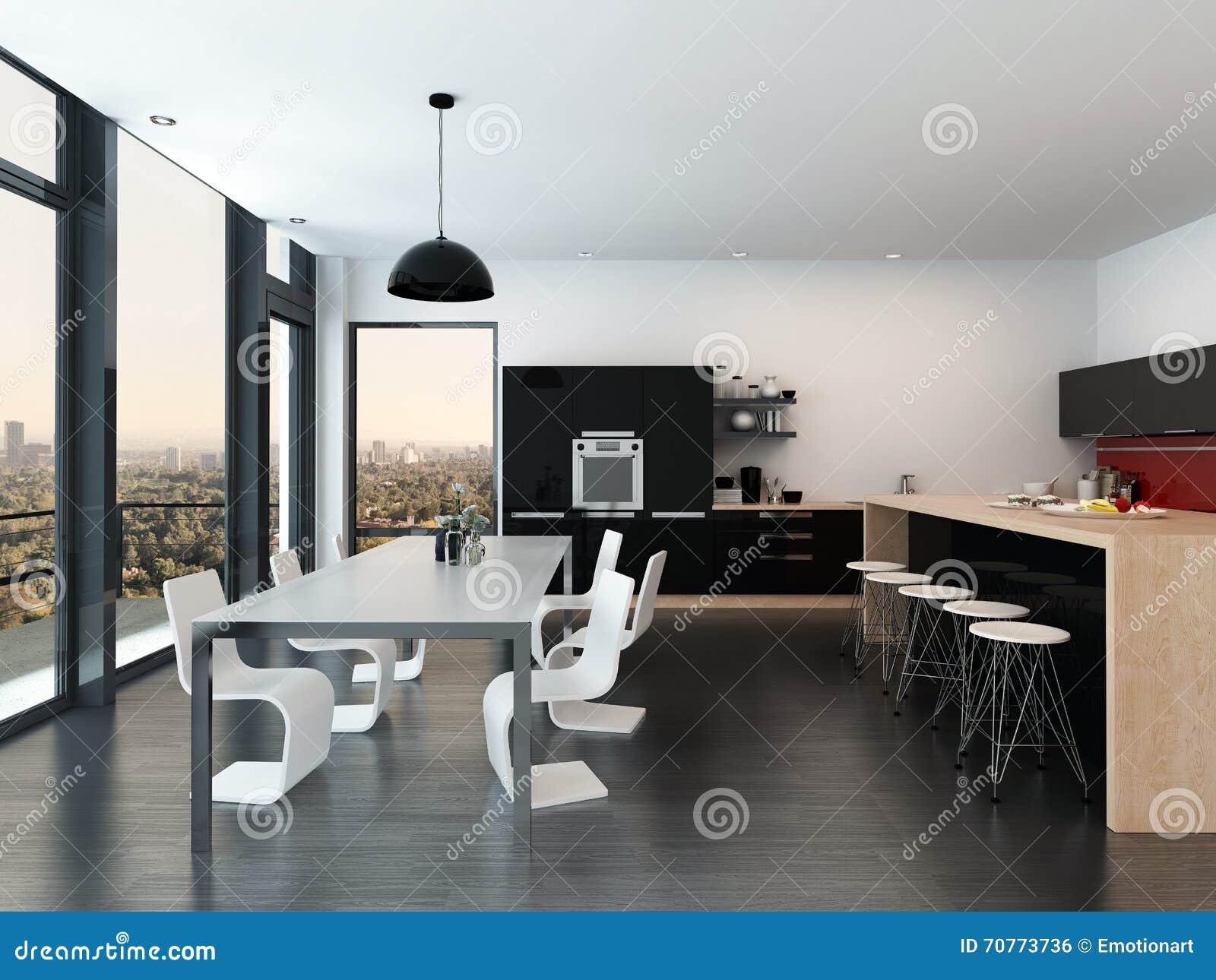 Cuisine Moderne D Ouvert Plan Et Salle A Manger Illustration Stock