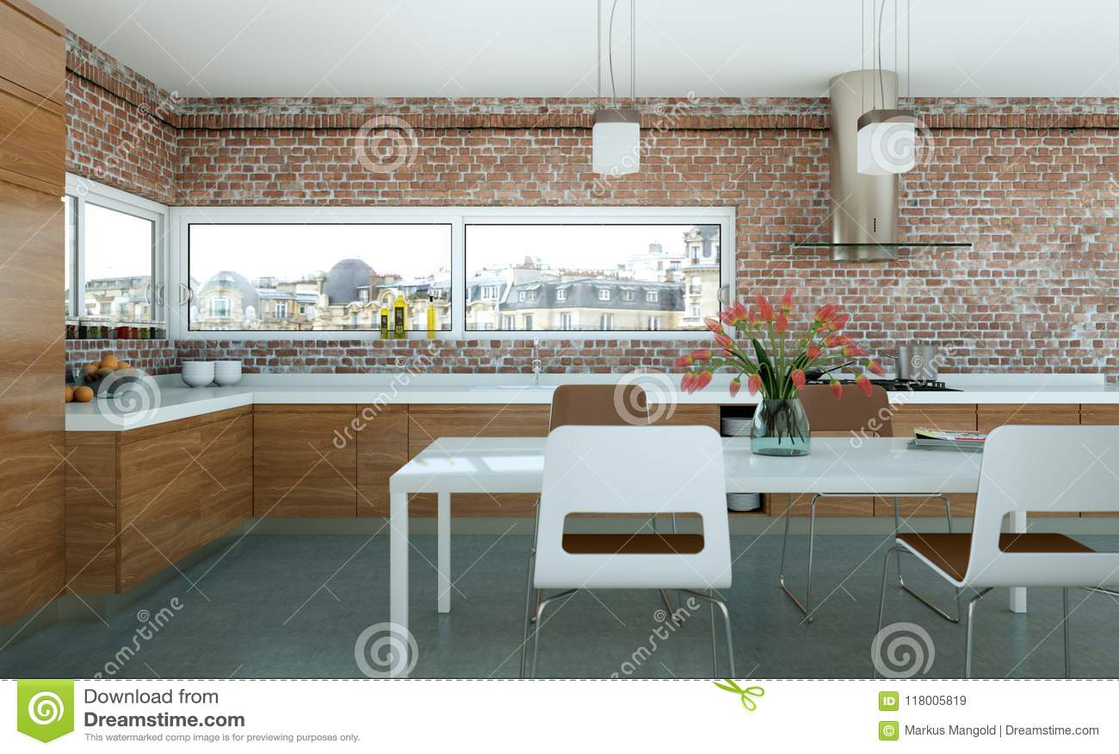 cuisine moderne en bois dans un grenier avec le mur en pierre illustration stock illustration. Black Bedroom Furniture Sets. Home Design Ideas