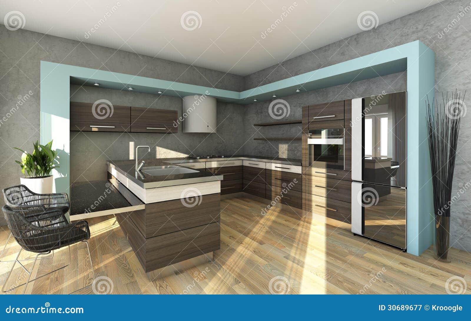 Appartement urbain   cuisine avec le mur en pierre images stock ...