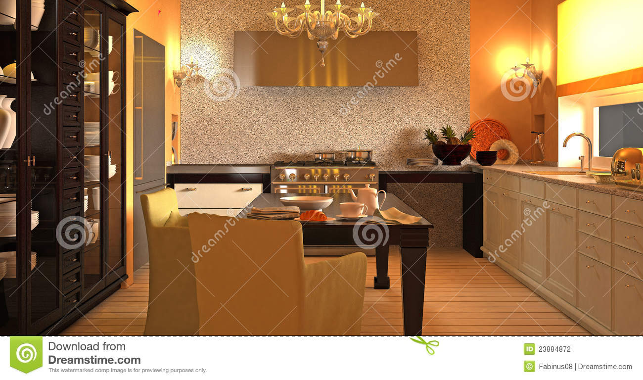 cuisine moderne luxueuse photographie stock image 23884872. Black Bedroom Furniture Sets. Home Design Ideas