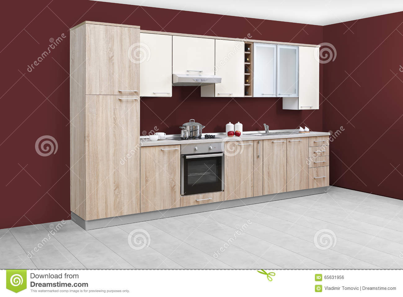 Cuisine moderne meubles en bois simple et propre photo for Cuisine simple et moderne