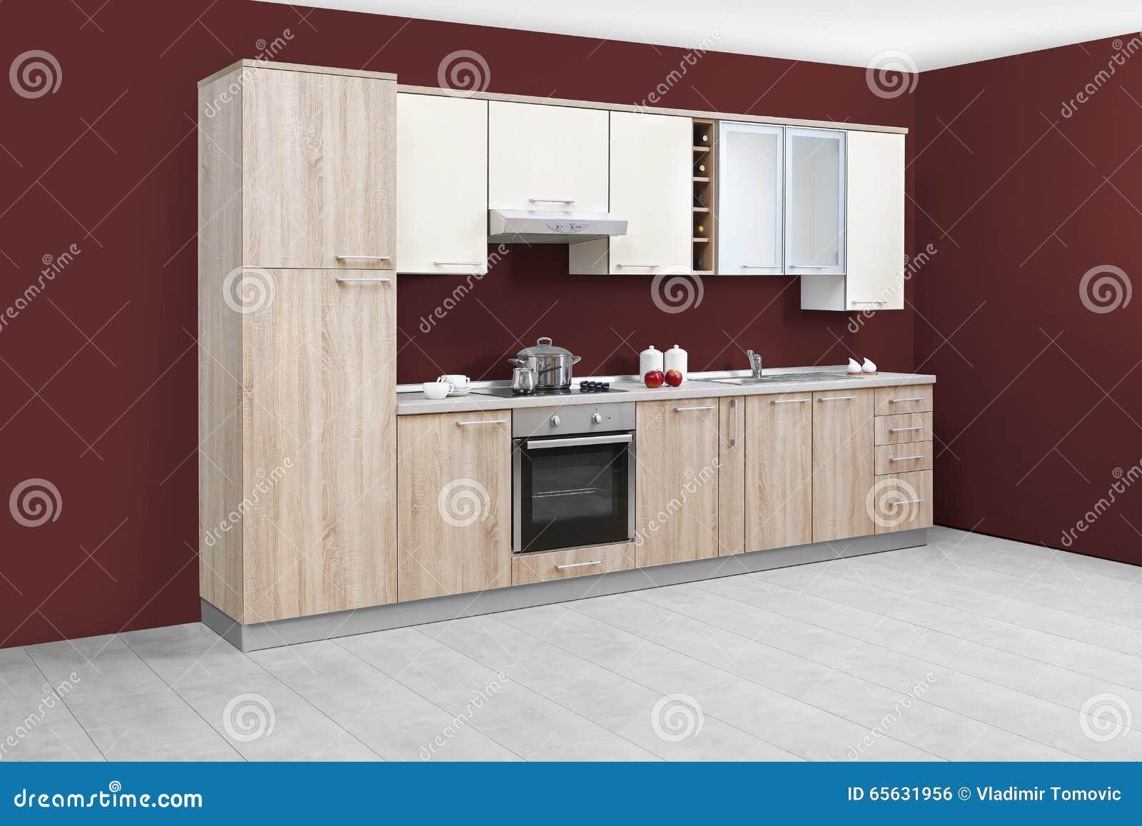 Cuisine moderne meubles en bois simple et propre photo for Cuisine moderne et simple