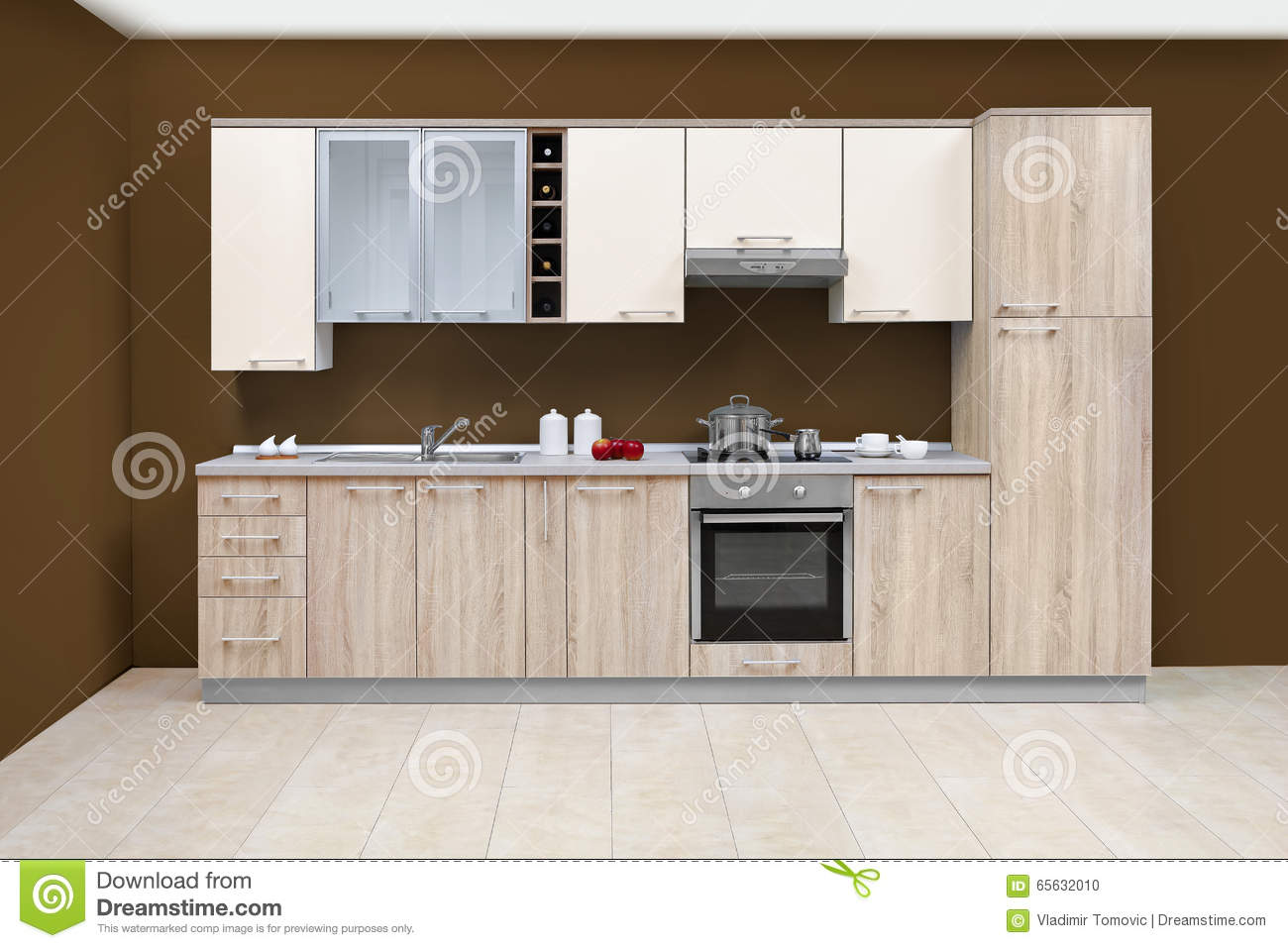 Cuisine Moderne Meubles En Bois Simple Et Propre Photo Stock