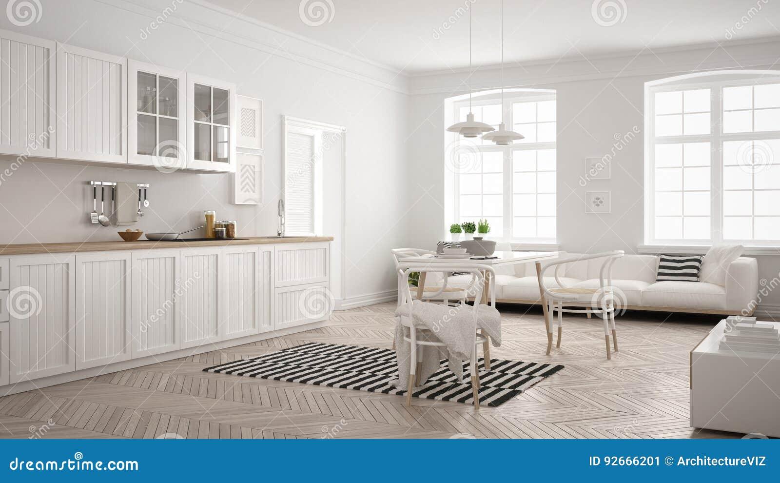 Cuisine moderne minimaliste avec la table de salle à manger et le salon, whi