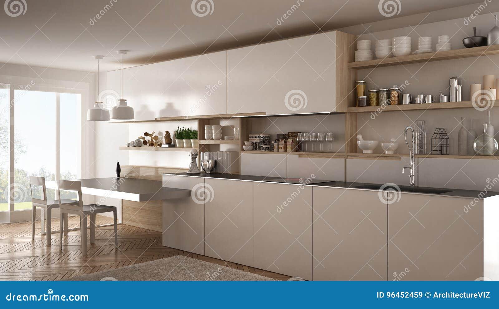 Cuisine Moderne Minimaliste Avec Les Détails, La Table Et Les Chaises En  Bois, Conception Intérieure Blanche