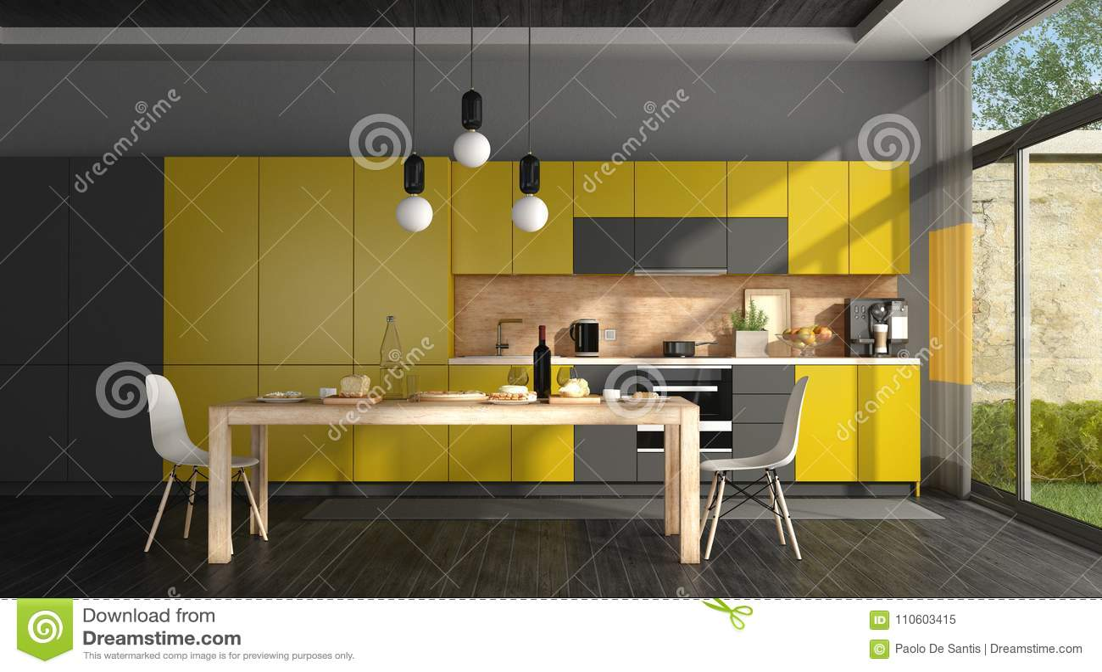 Cuisine Moderne Jaune cuisine moderne noire et jaune illustration stock - illustration du