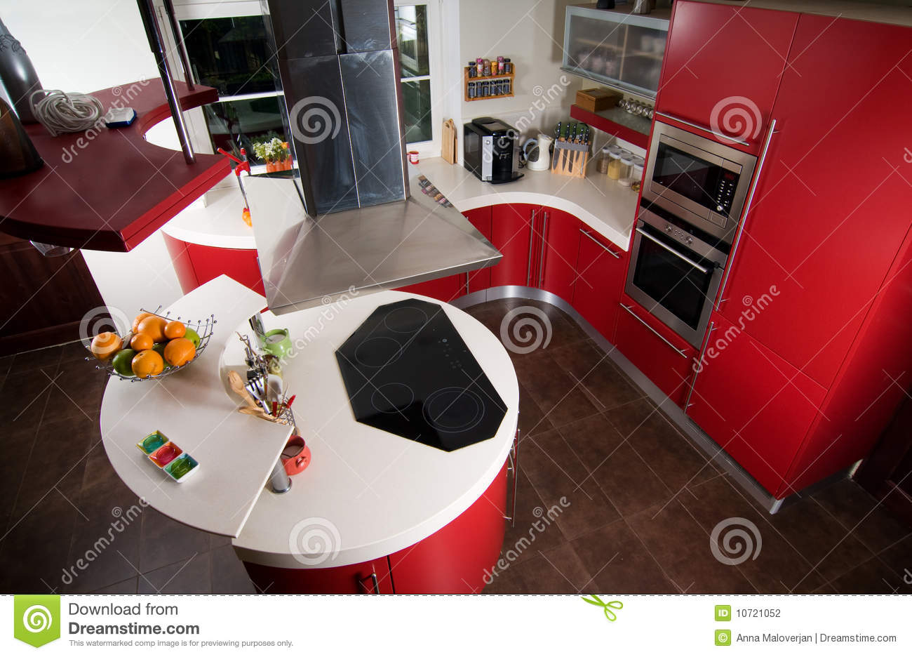 Cuisine moderne rouge photographie stock   image: 10721052