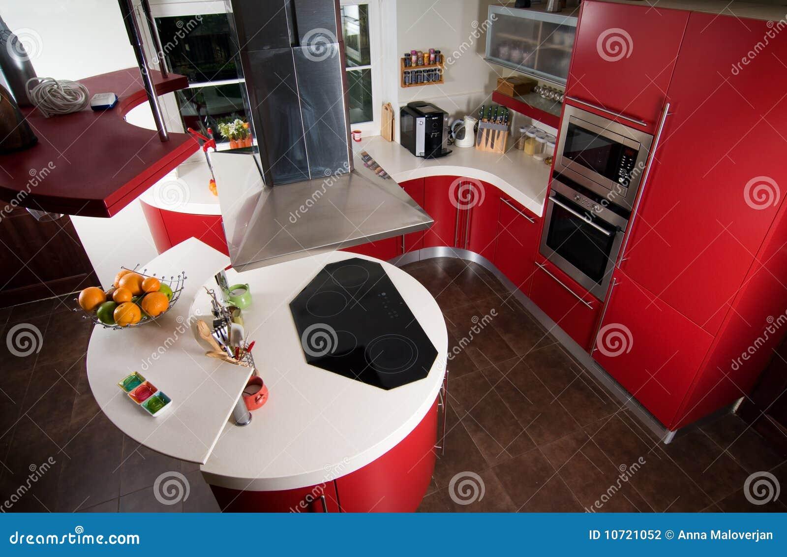cuisine moderne rouge photo stock image du d coration. Black Bedroom Furniture Sets. Home Design Ideas