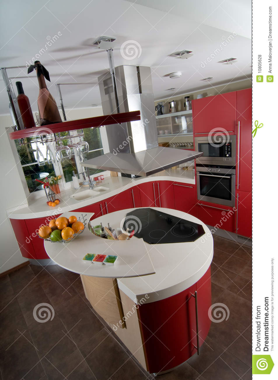 Cuisine Moderne Rouge Photo Stock Image Du Architecture