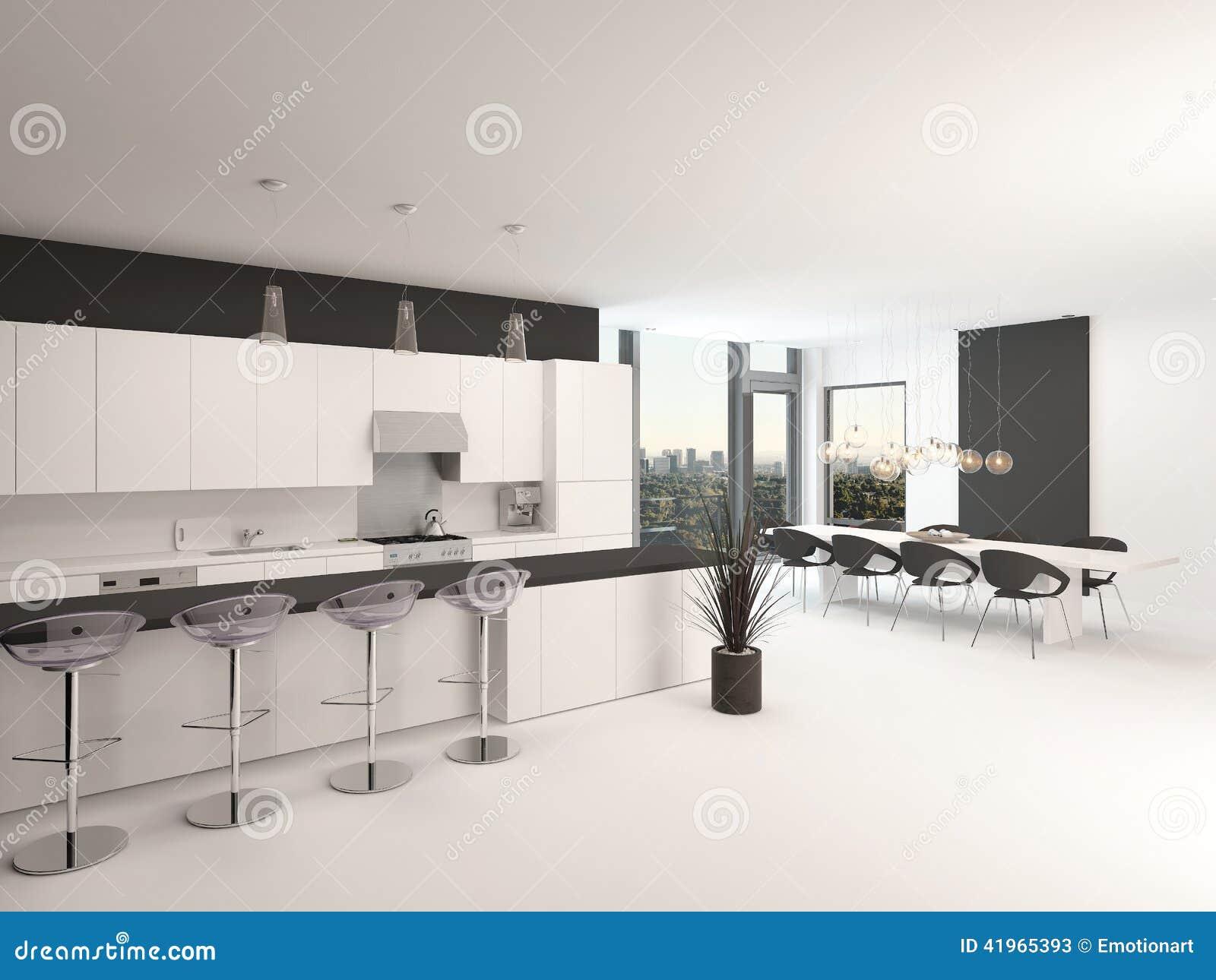 Cuisine noire et blanche d'ouvert plan moderne illustration stock ...