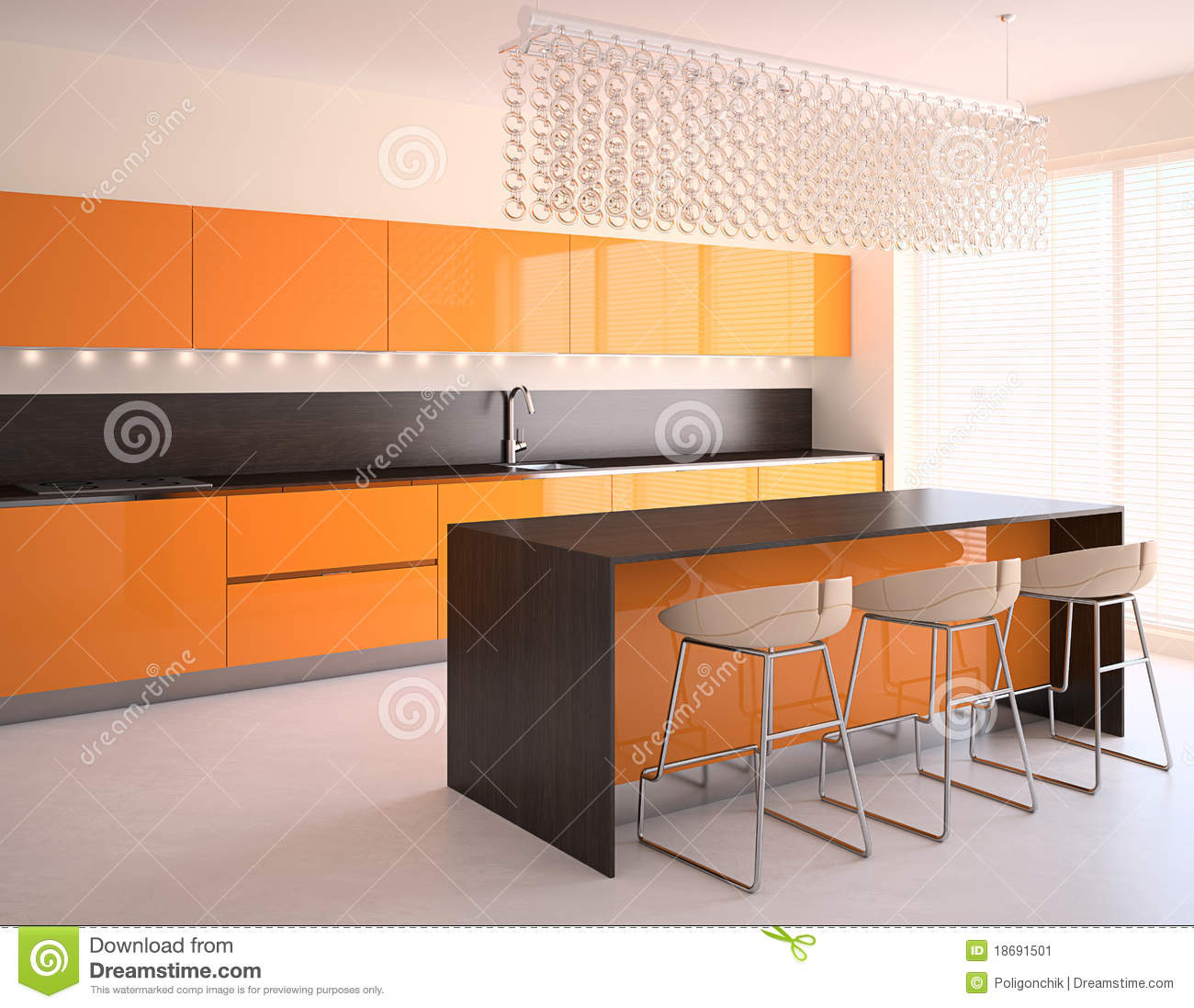Cuisine orange moderne illustration stock illustration du for Cuisine orange
