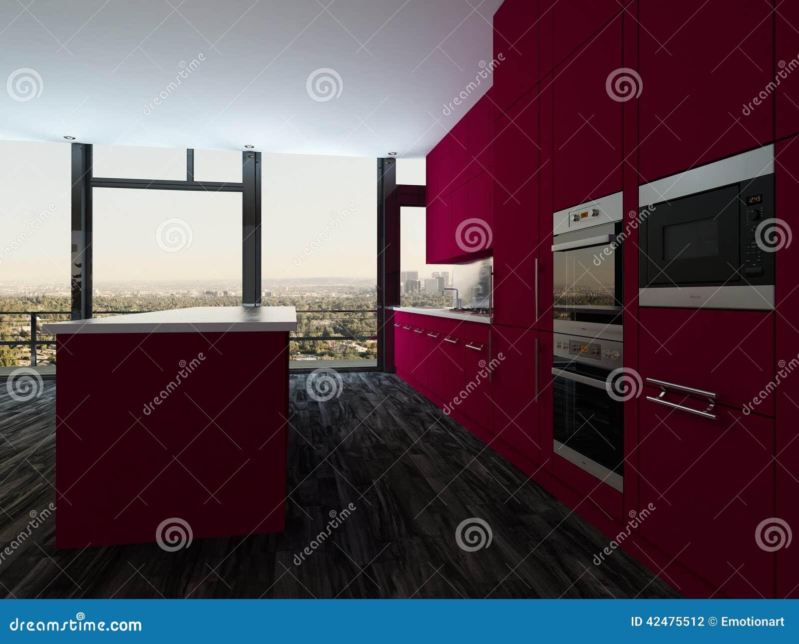 Cuisine ouverte moderne color e de plan et salle manger for Cuisine moderne coloree