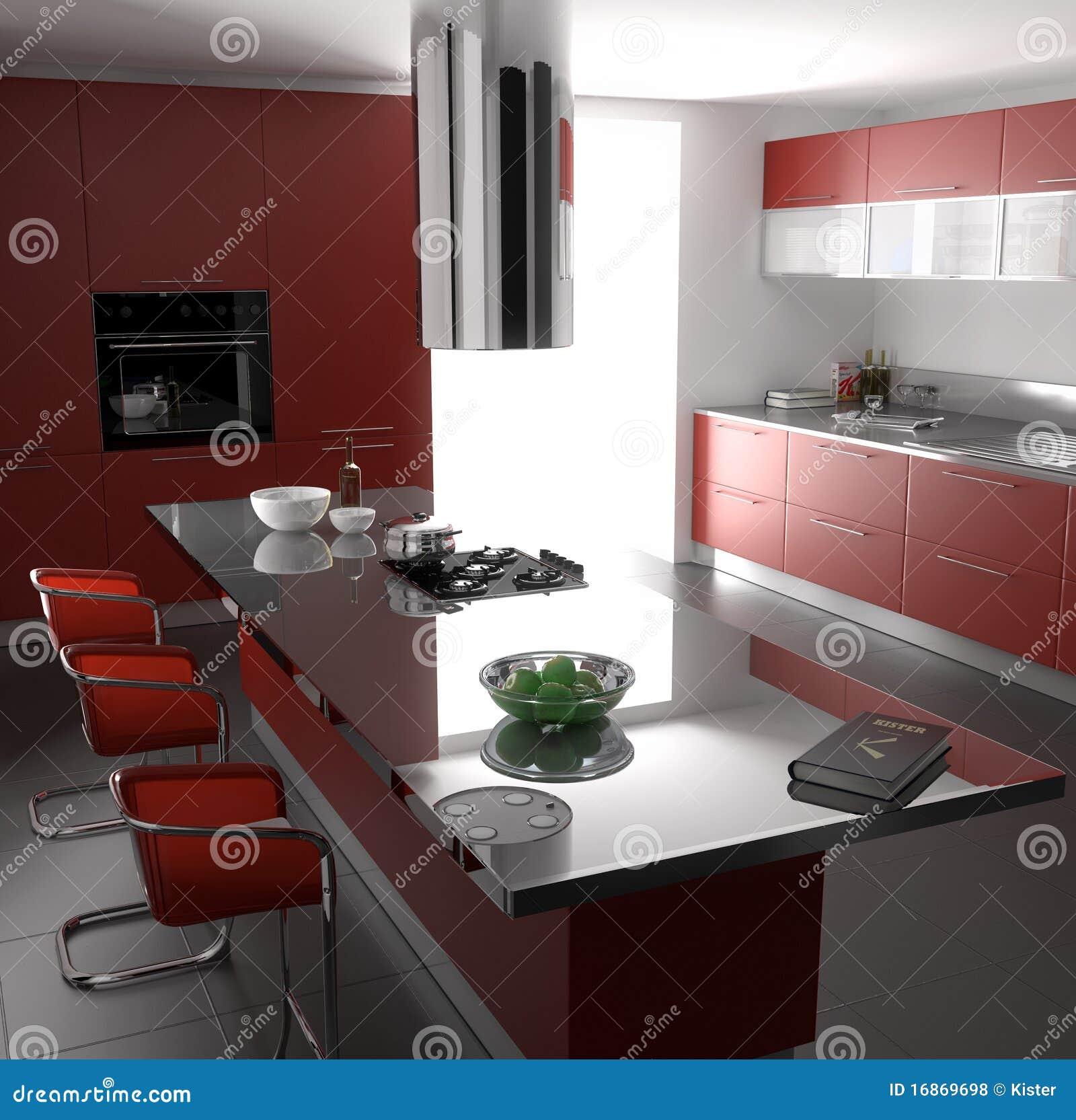 Cuisine Rouge Photos libres de droits - Image: 16869698