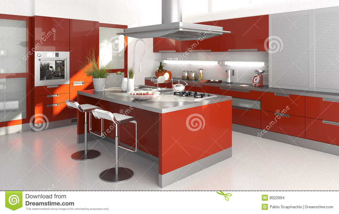 Cuisine rouge illustration stock image du cuisinier vide for Cuisine rouge 3d