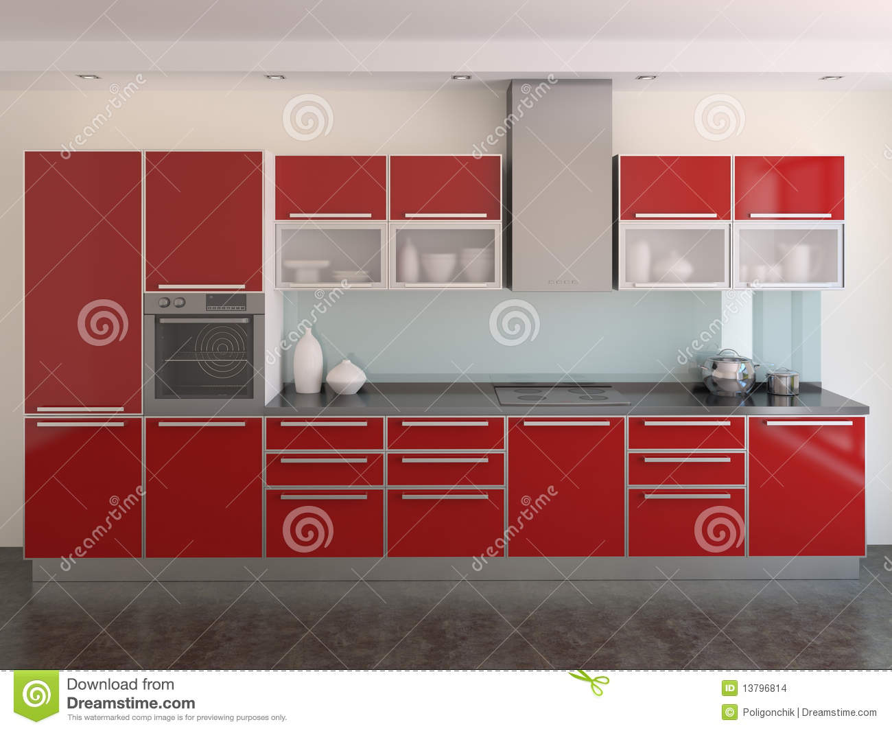 cuisine rouge moderne images stock image 13796814. Black Bedroom Furniture Sets. Home Design Ideas