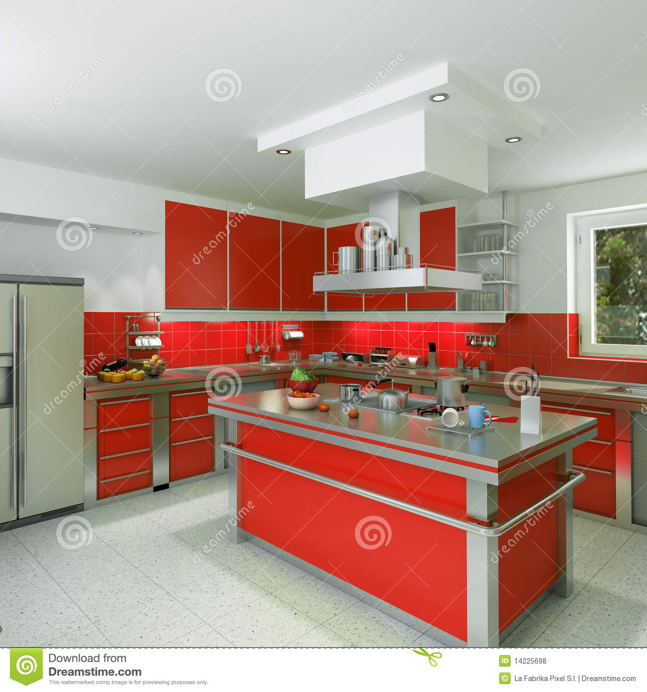 Cuisine rouge moderne photos libres de droits image for Cuisine rouge 3d
