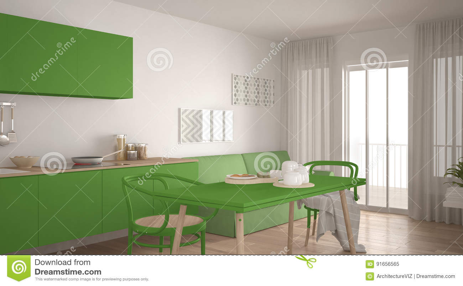 Cuisine Scandinave Avec Le Sofa Et La Table Plancher De Parquet En