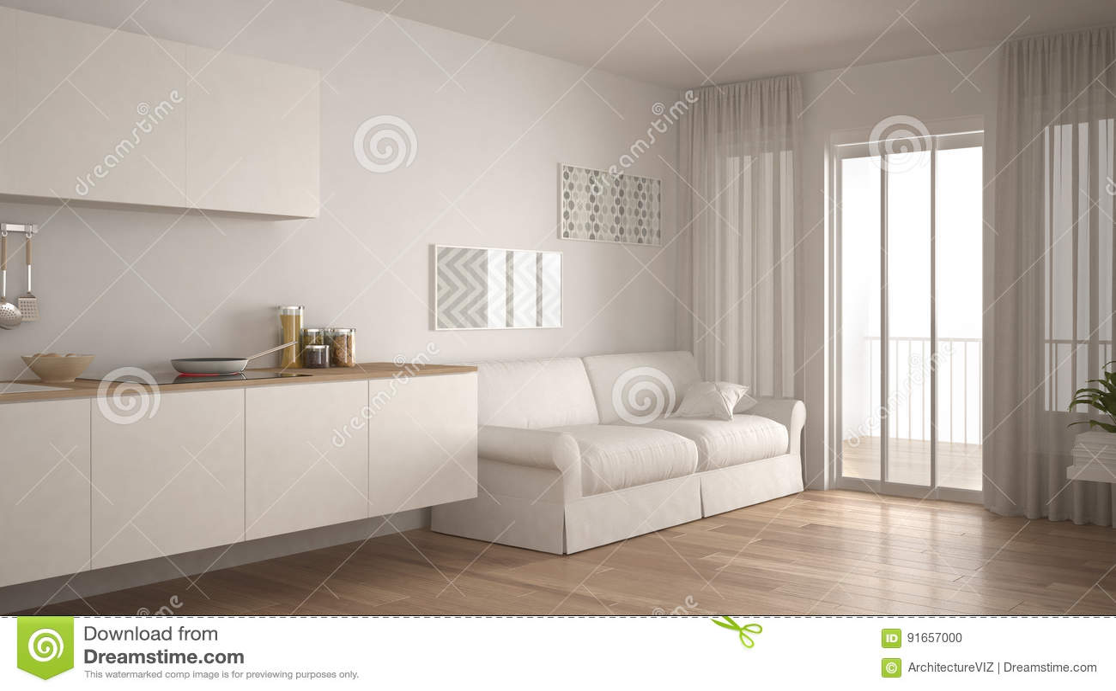 cuisine scandinave avec le sofa, plancher de parquet en bois, mini