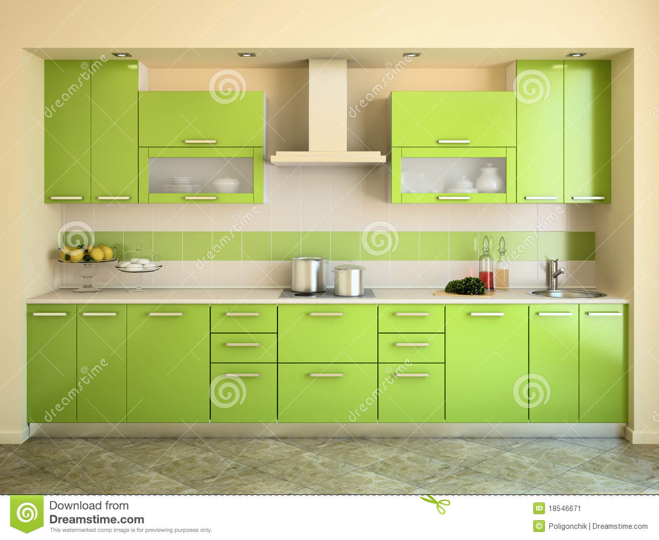 Cuisine verte moderne illustration stock image du home for Cuisine verte