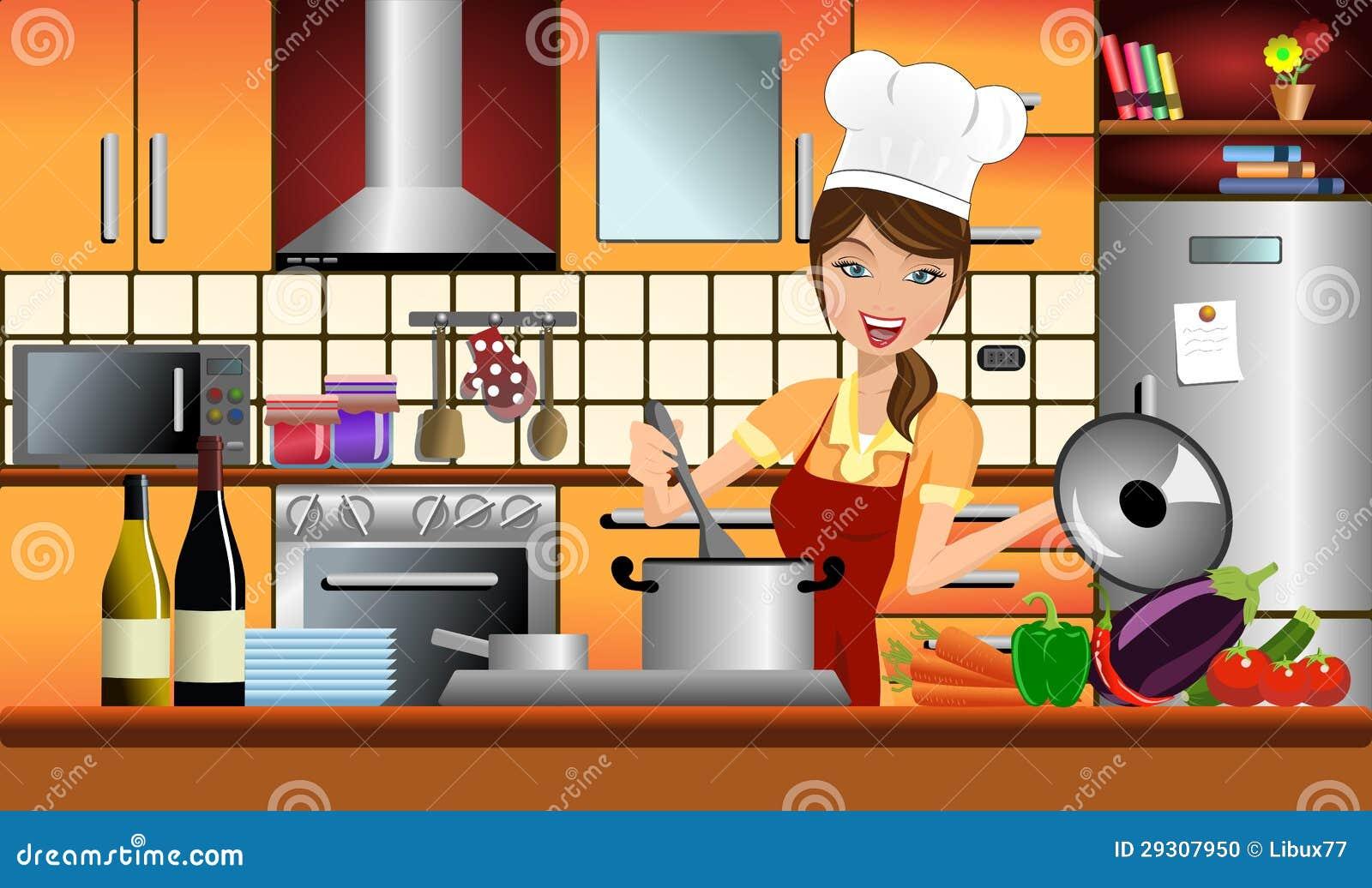 cuisini re heureuse de femme dans une cuisine moderne illustration de vecteur illustration du. Black Bedroom Furniture Sets. Home Design Ideas