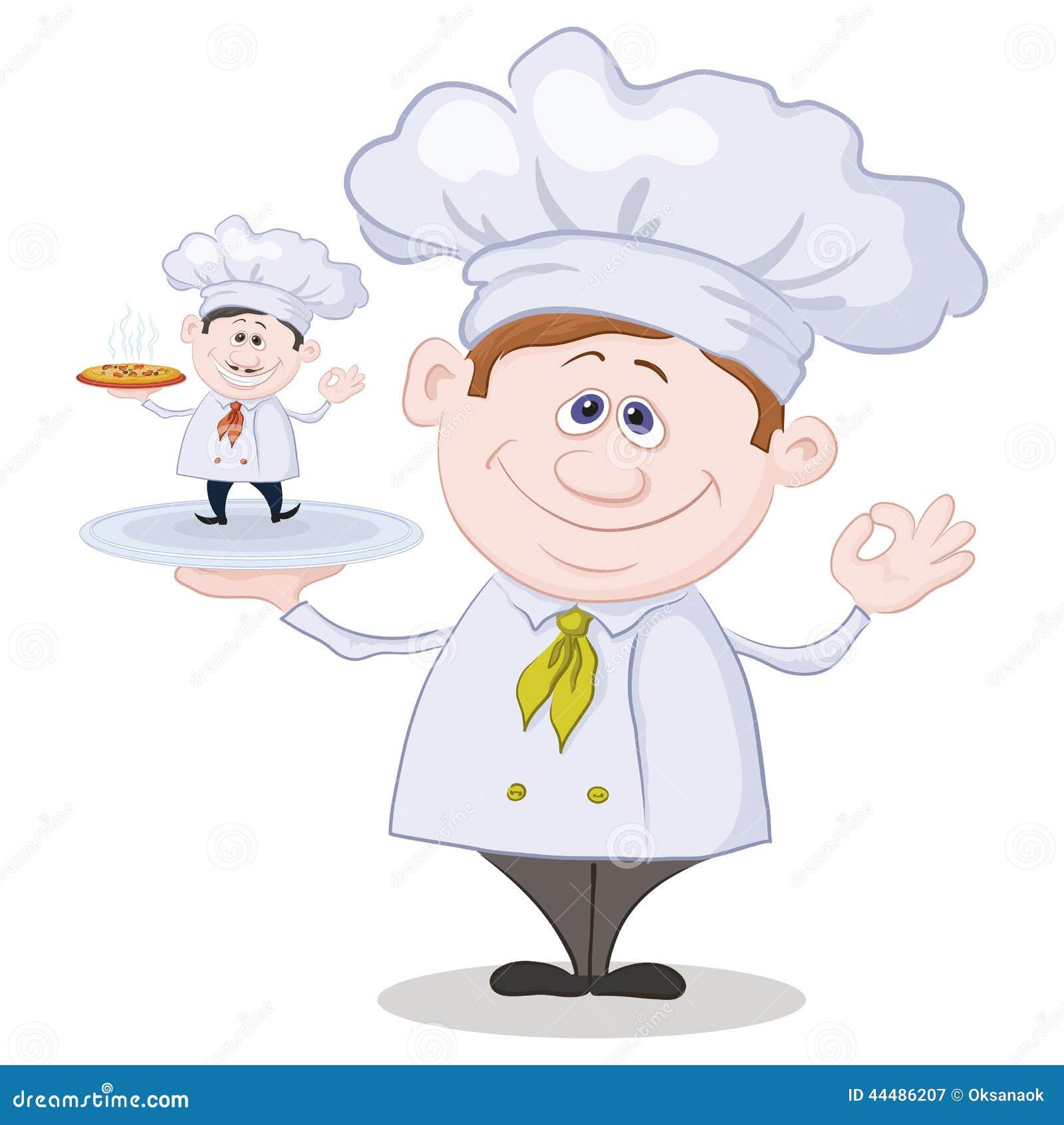 Cuisinier de bande dessin e et petit chef avec la pizza for Ma cuisine petit chef