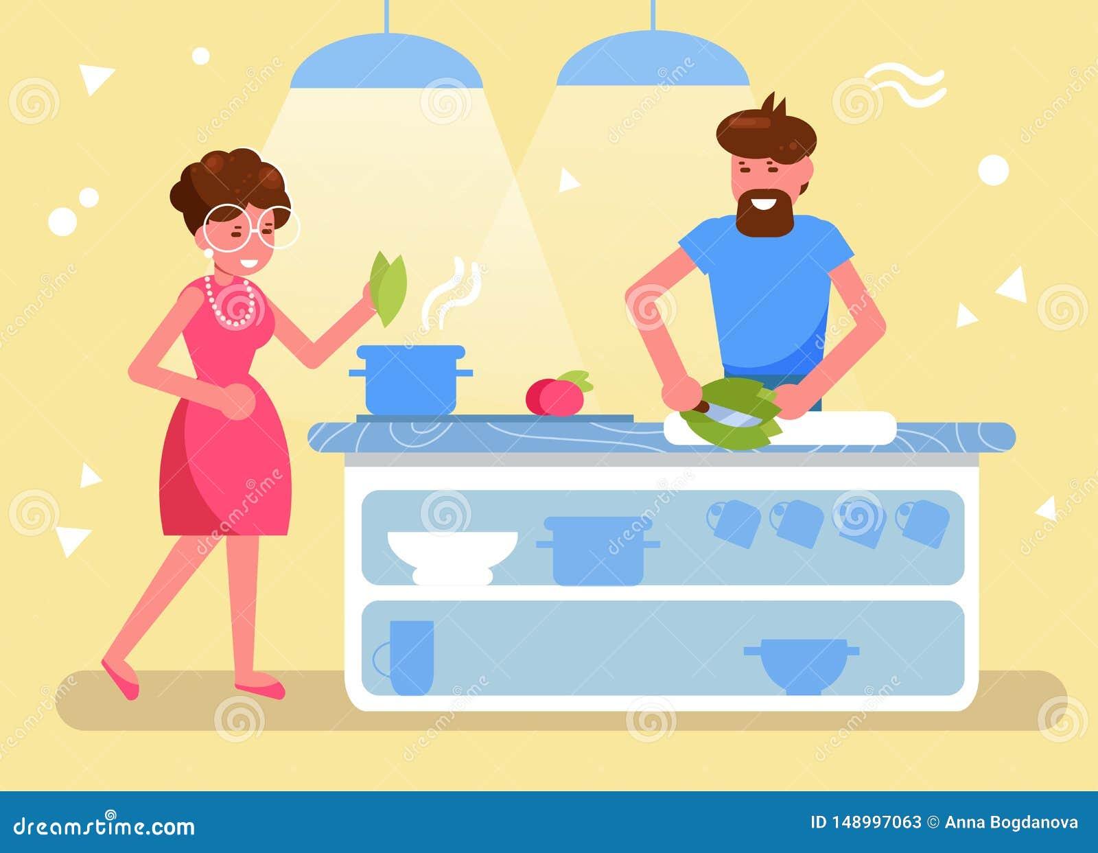 Cuisinier de mari et d épouse ensemble dans le vecteur de cuisine cartoon Art d isolement plat