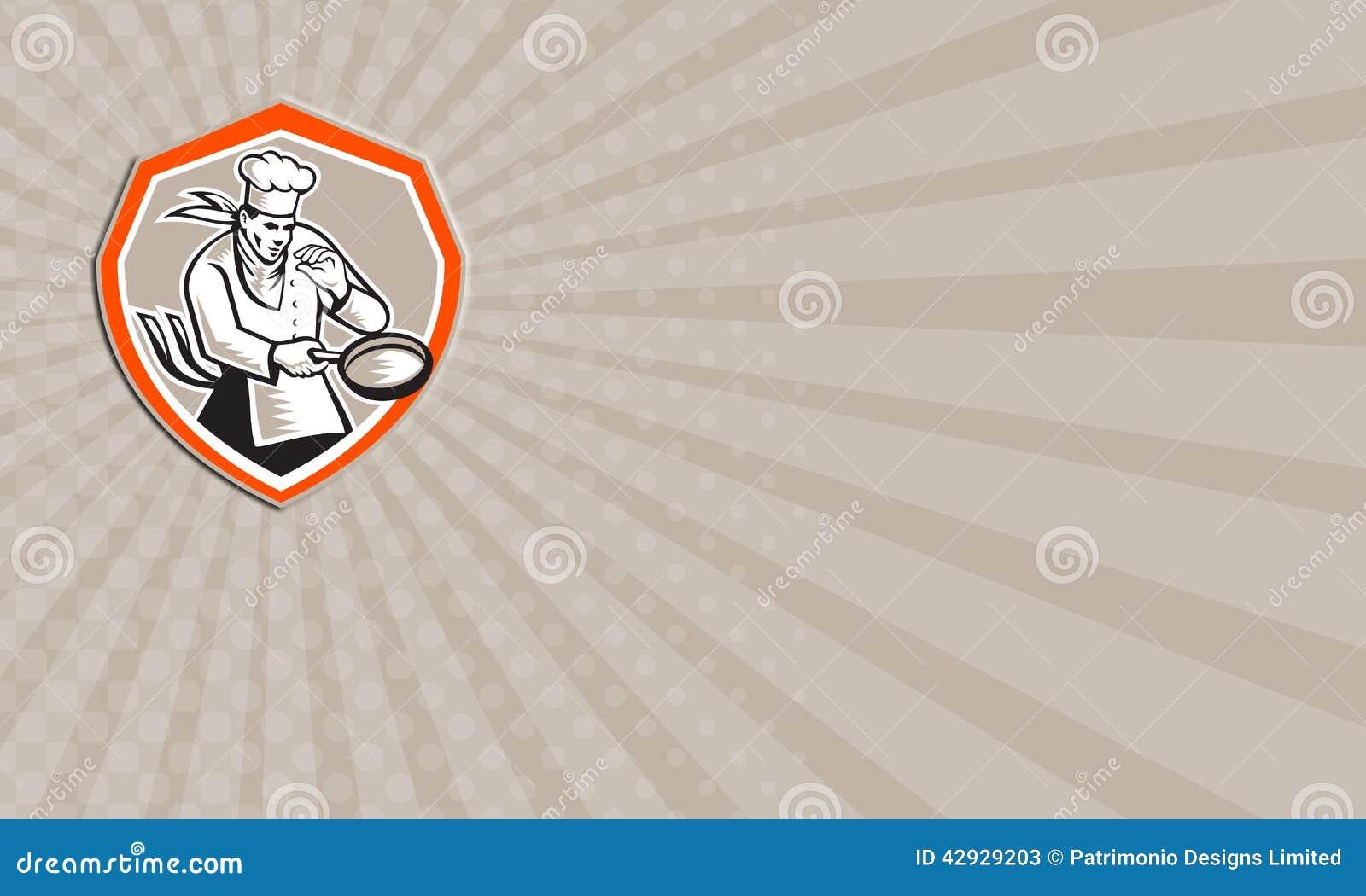 Carte De Visite Professionnelle Montrant Lillustration Dun Cuisinier Chef Tenant Lensemble Poele A Linterieur Du Bouclier Sur Le Fond