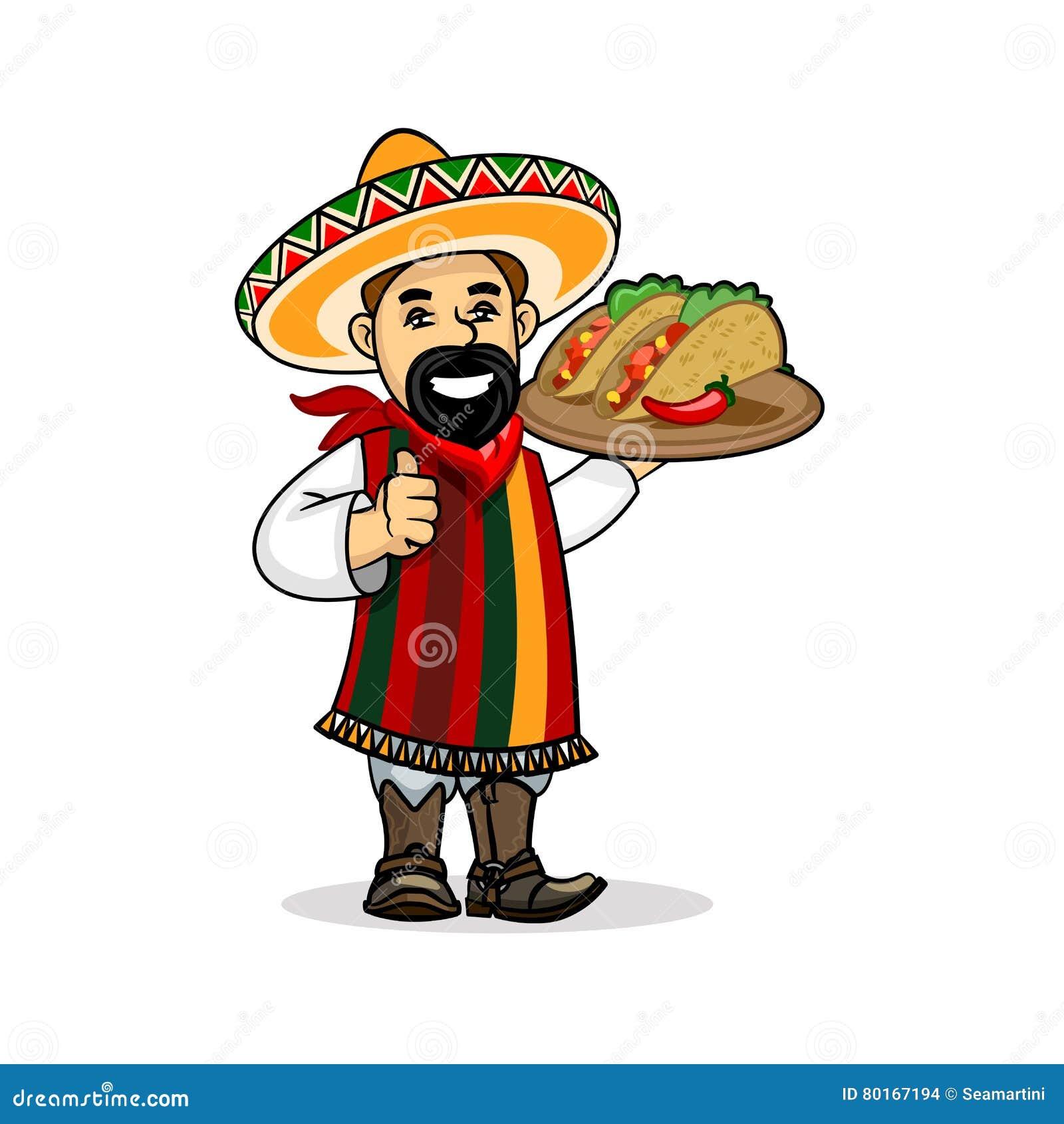 Cuisinier mexicain avec le menu et le tacos