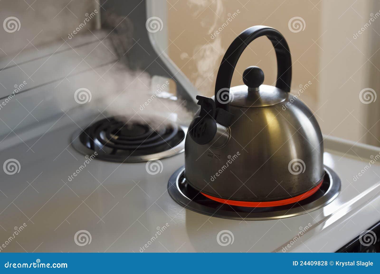 cuisson la vapeur de la bouilloire de th photo stock image du vapeur blanc 24409828. Black Bedroom Furniture Sets. Home Design Ideas