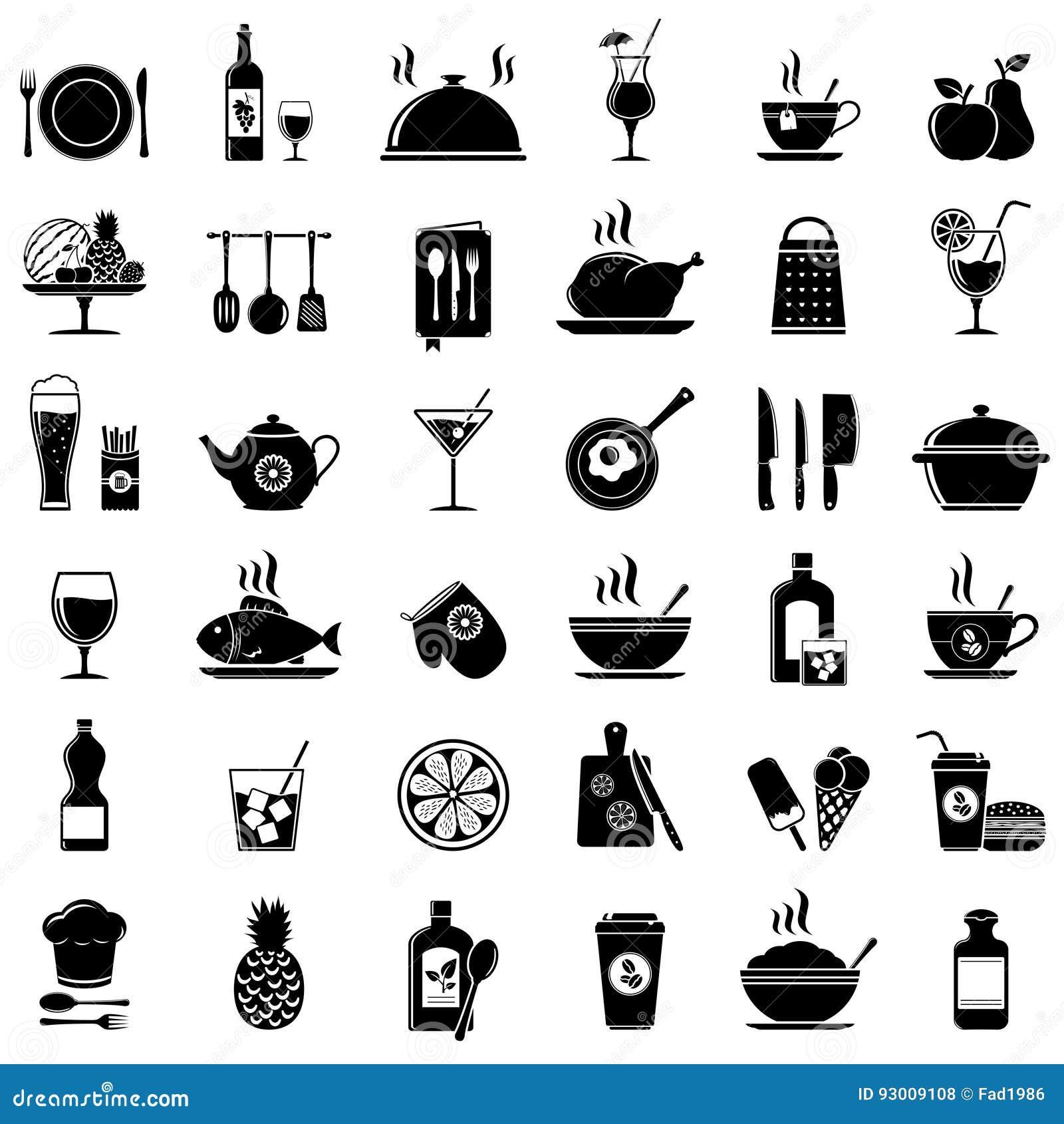 Cuisson outils de cuisine nourriture et ic nes de boissons illustration de vecteur - Outil de cuisine liste ...