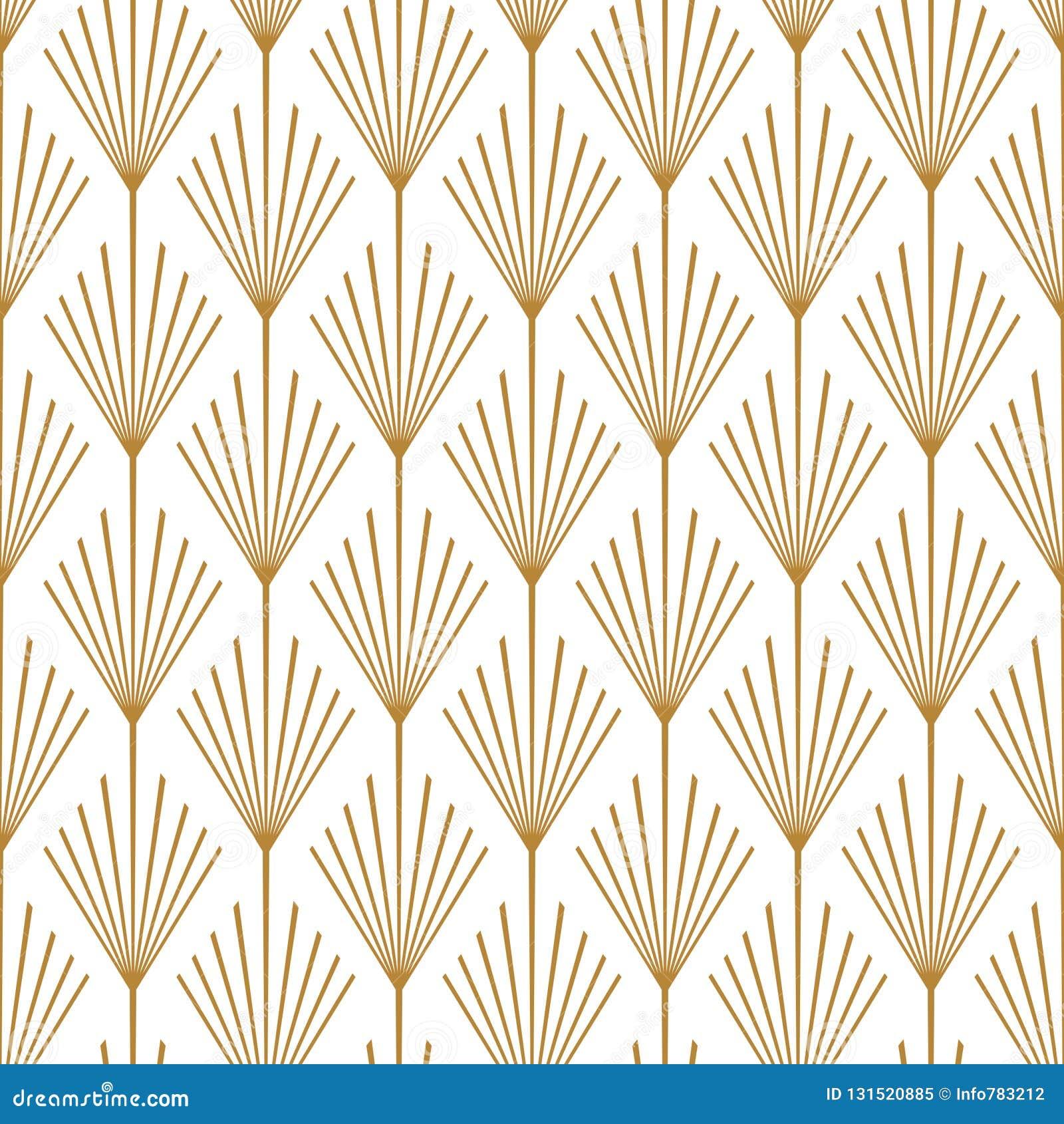 Papier Peint Art Deco Blanc cuivre d'art deco seamless vector pattern illustration de