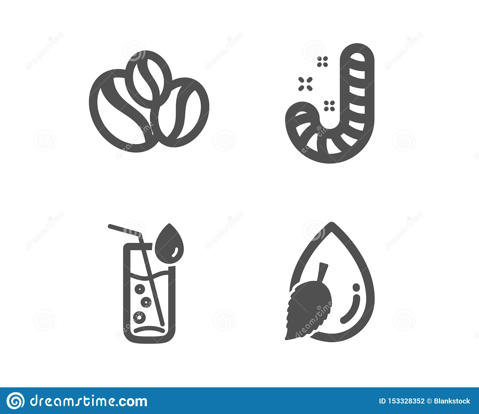 Cukierek, Wodny szkło i jagod fasoli ikony, Wodny kropla znak Lollypop, Sodowany napój, Kawowe fasole wektor