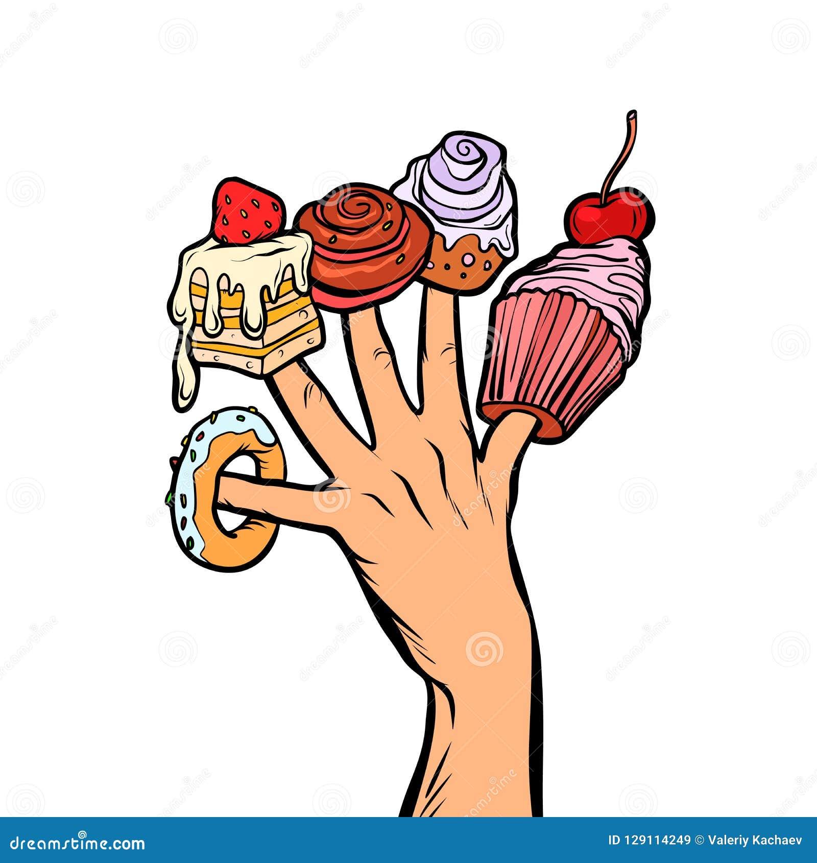 Cukierki zasychają babeczka pączka marshmallow na palcach