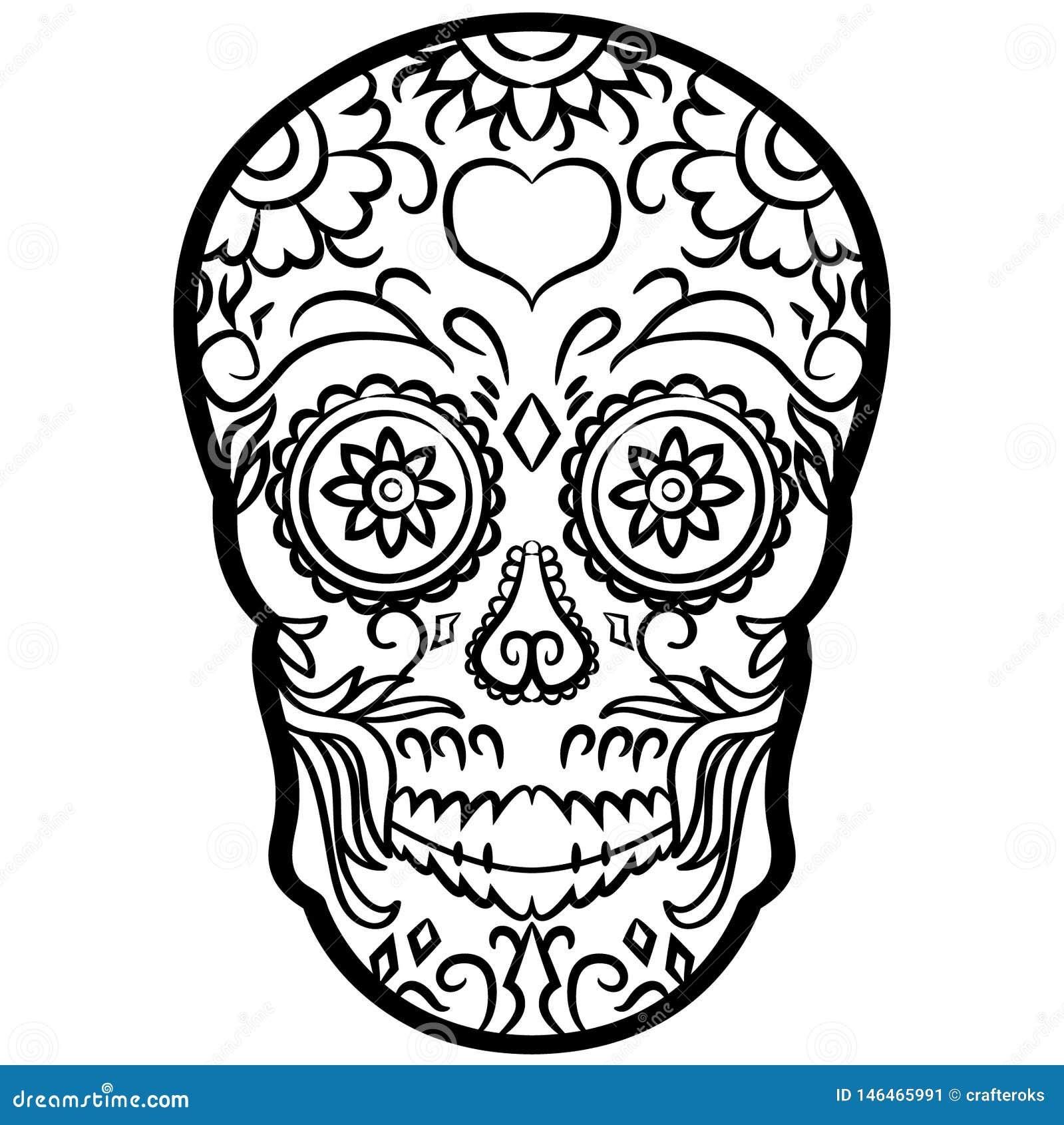 Cukrowa czaszka wektoru eps r?ka rysuj?ca, wektor, Eps, logo, ikona, sylwetki ilustracja crafteroks dla r??nego u?ywa Odwiedza m?