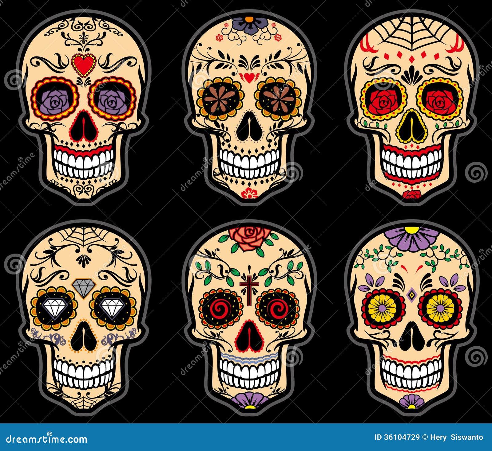 Cukrowy czaszka dzień nieboszczyka set