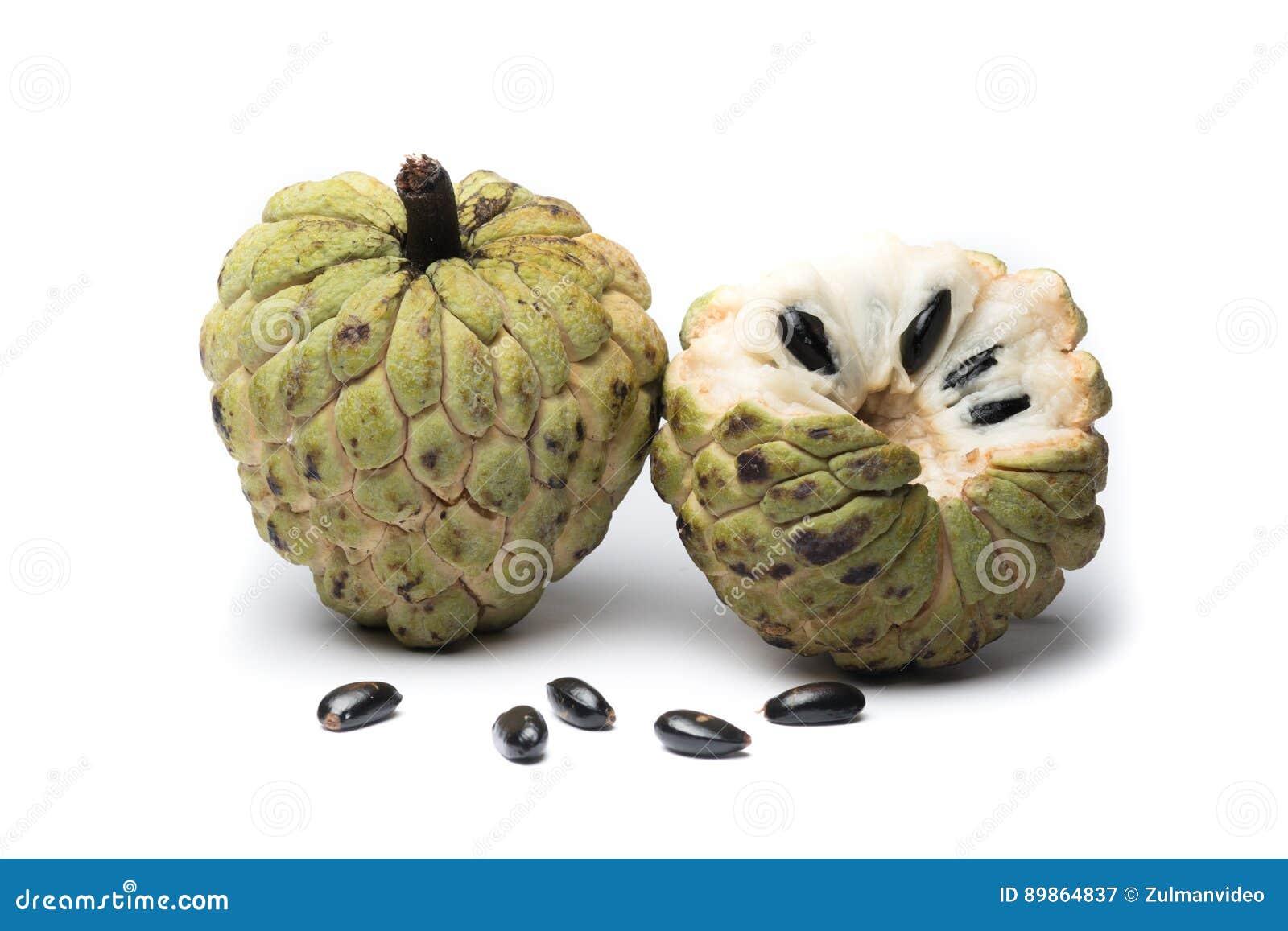 Cukrowy Jabłczany custard jabłko, Annona, sweetsop na białym tle