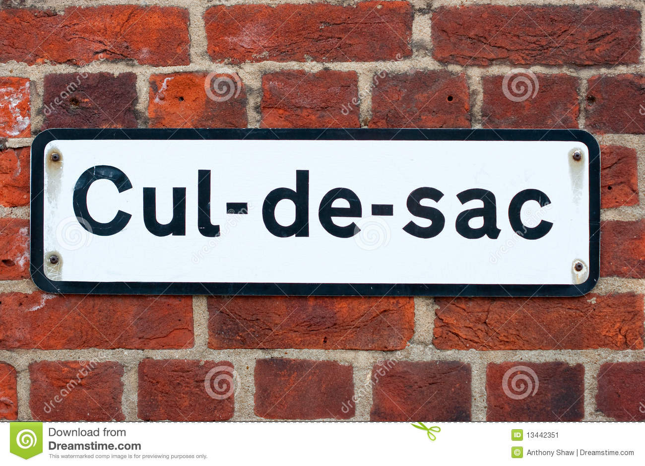 Cul de sac road sign on brick stock image image 13442351 for De signs
