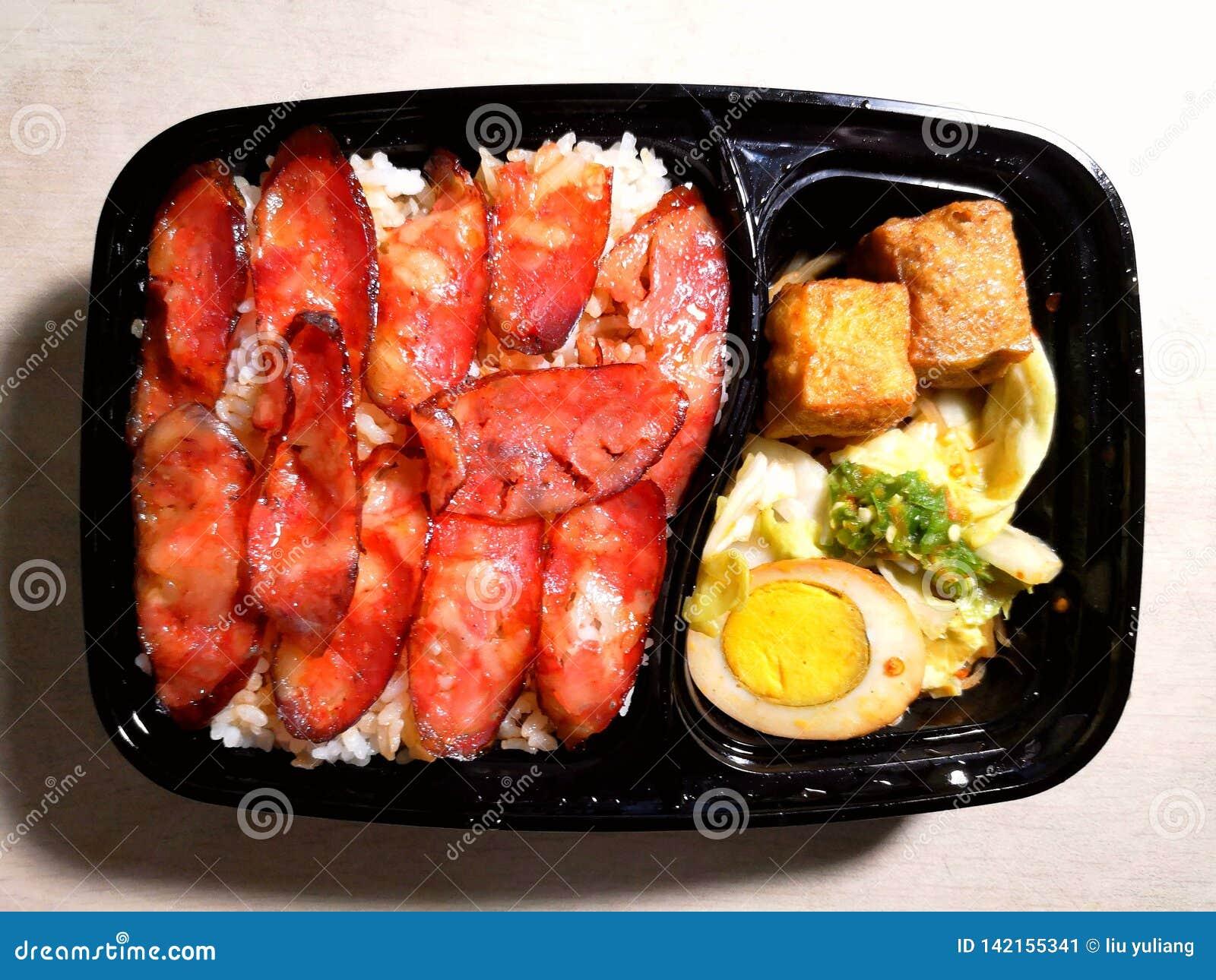 Culinária de ŒChinese do ¼ do riceï da salsicha
