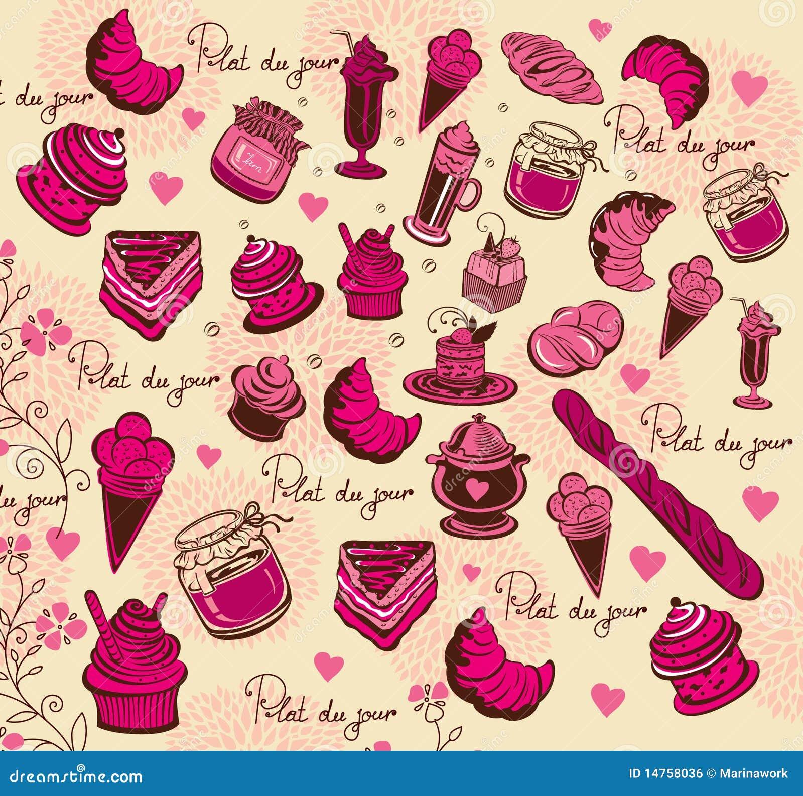 Culinair patroon de tekening van de hand royalty vrije stock afbeelding afbeelding 14758036 - Parijs zoet ...